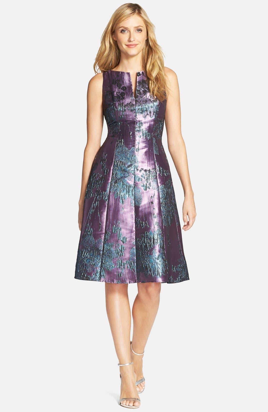 Alternate Image 3  - Adrianna Papell Metallic Jacquard Fit & Flare Dress (Regular & Petite)