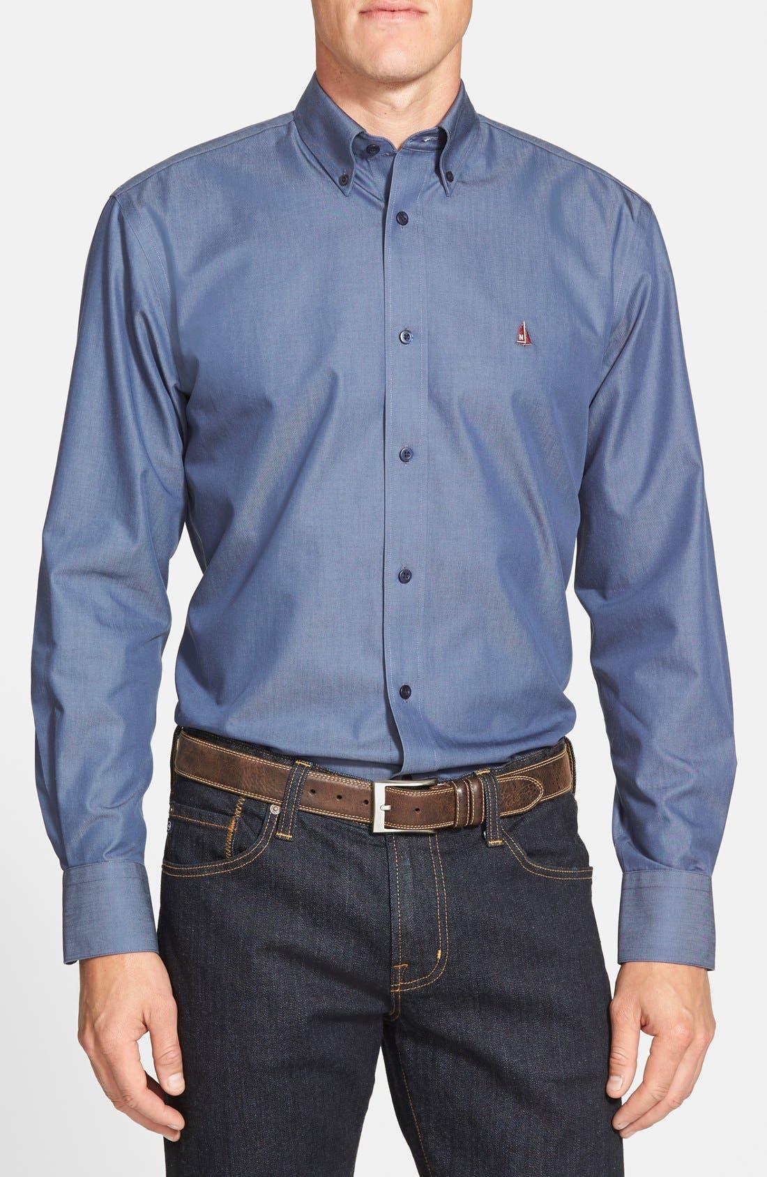 Alternate Image 1 Selected - Nordstrom Men's Shop Smartcare™ Regular Fit Twill Denim Boat Shirt (Regular & Tall)