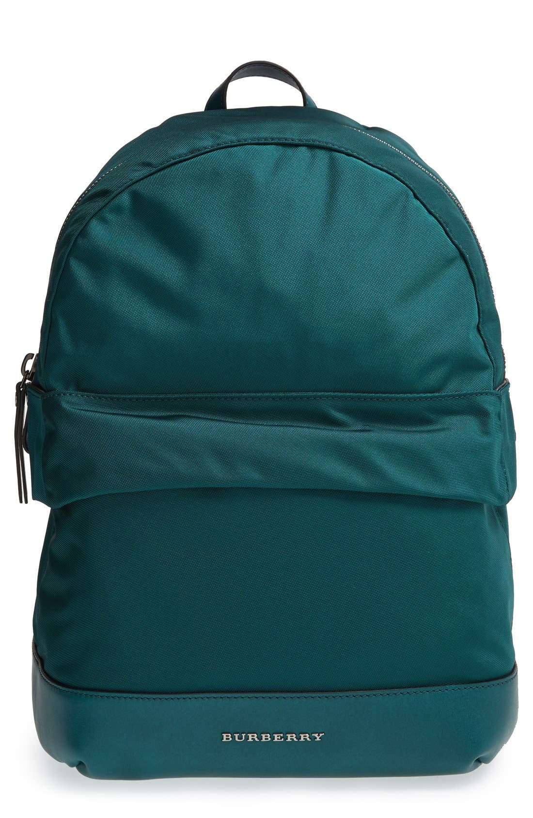 Alternate Image 1 Selected - Burberry 'Tiller' Nylon & Leather Backpack (Kids)