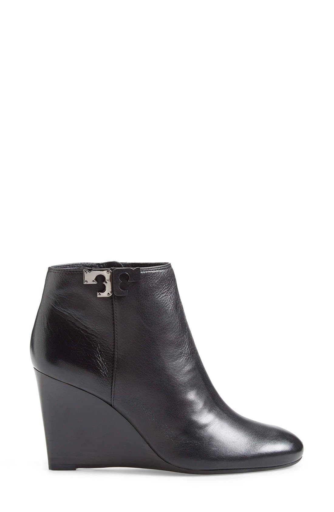 'Lowell' Wedge Bootie,                             Alternate thumbnail 4, color,                             Black Leather