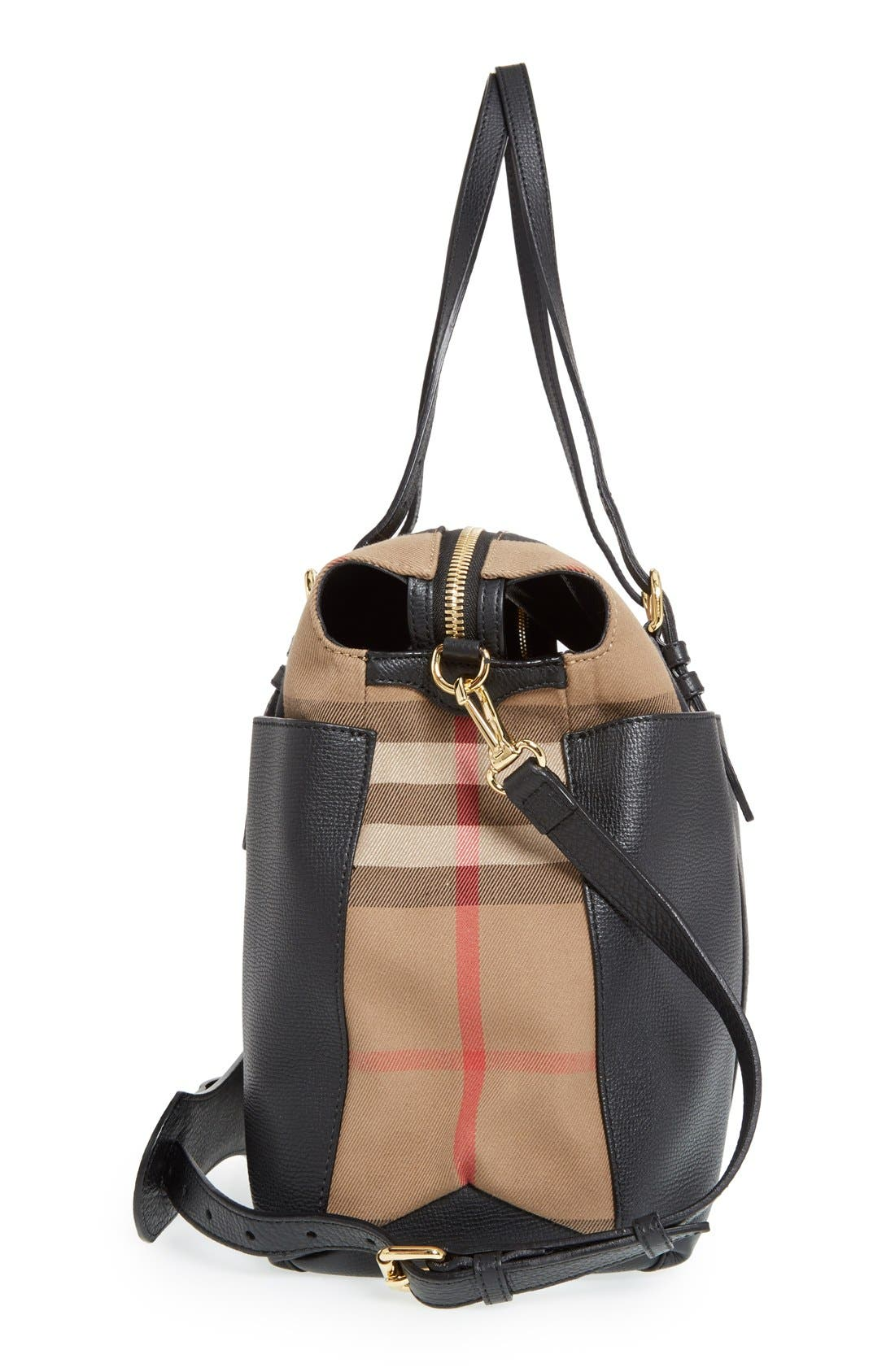 'Mason - House Check' Diaper Bag,                             Alternate thumbnail 5, color,                             Black
