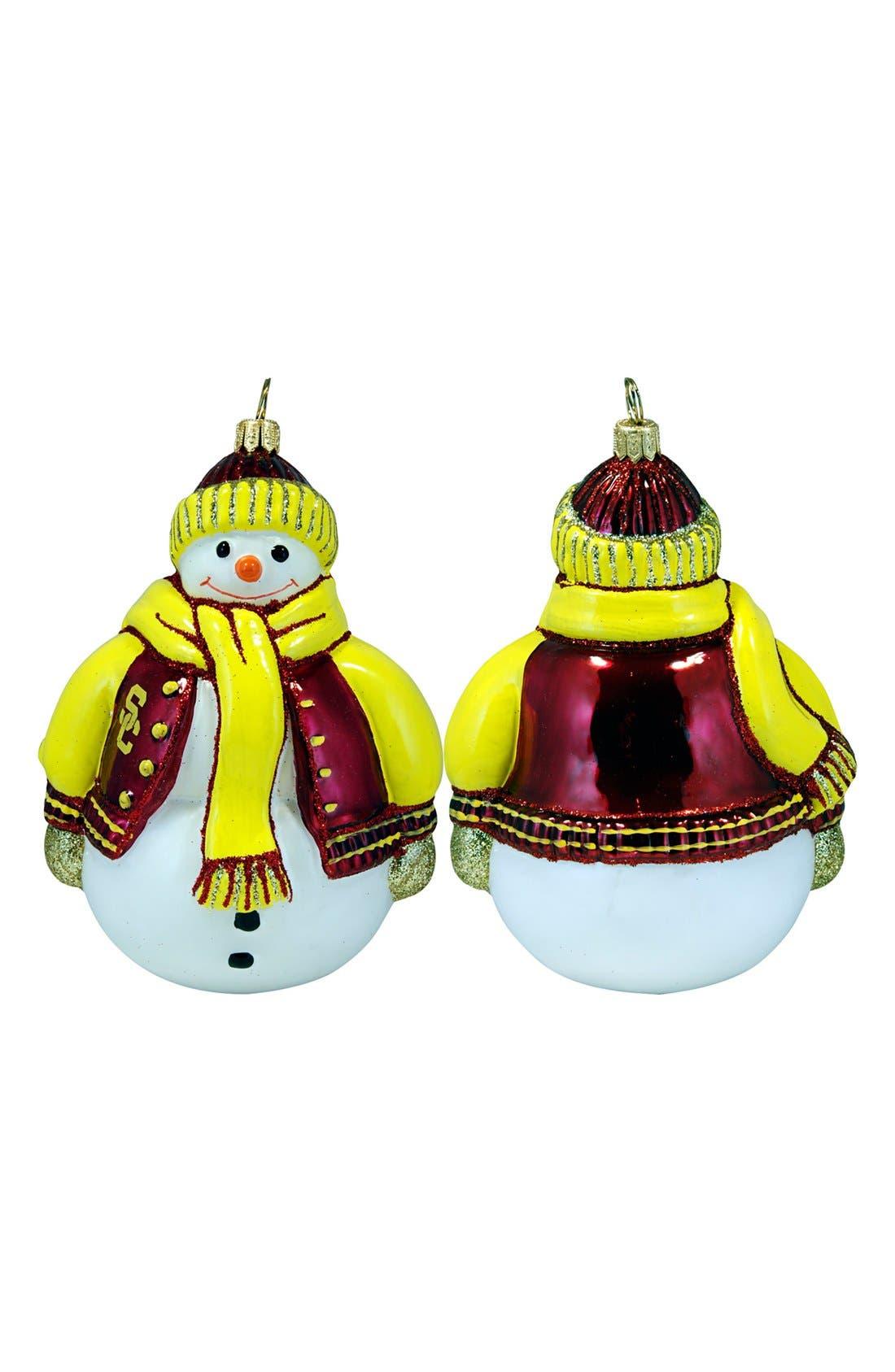 'Collegiate' Snowman Ornament,                         Main,                         color, Usc