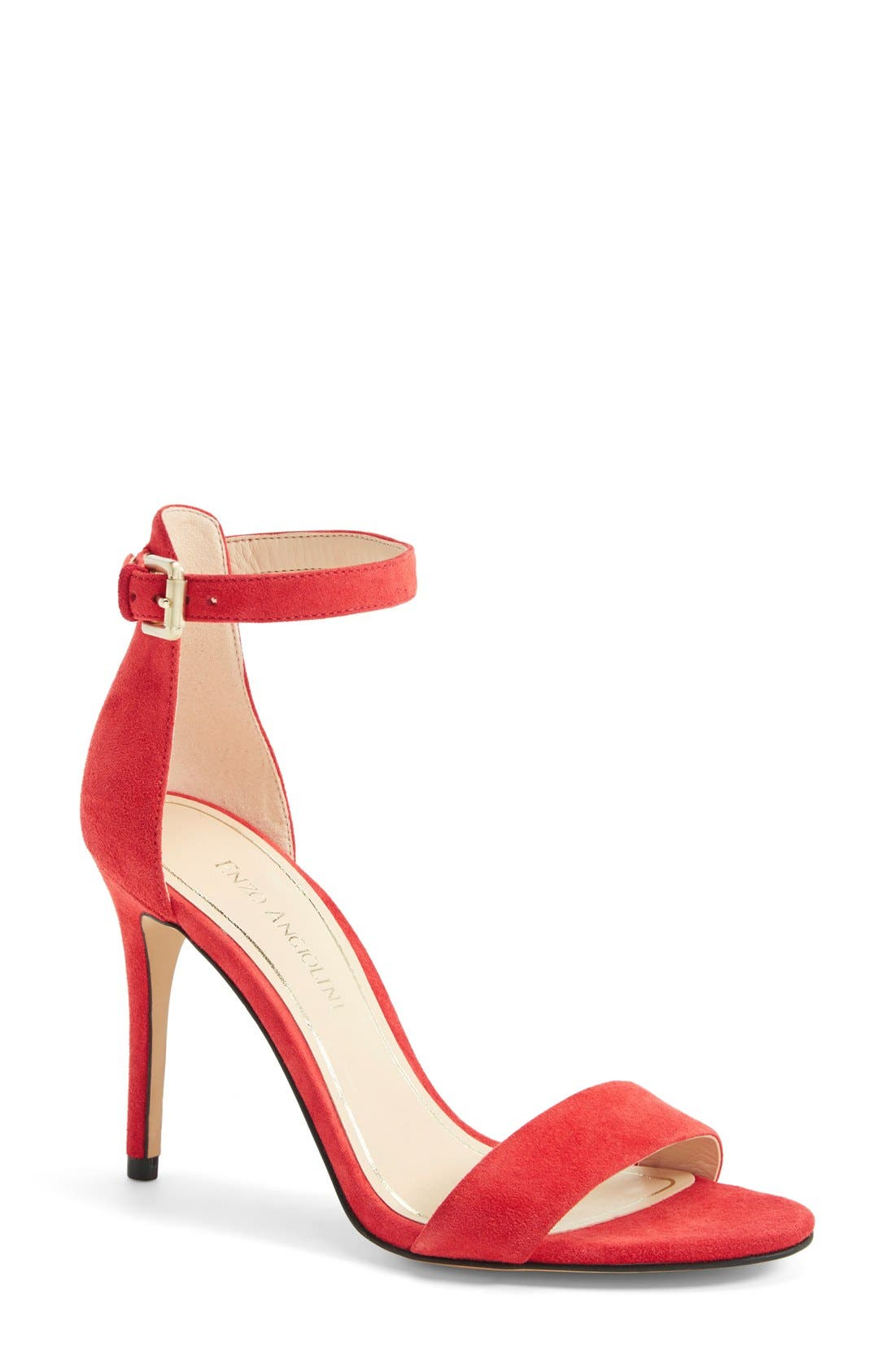 'Manna' Ankle Strap Sandal,                             Main thumbnail 1, color,                             Cherry Suede