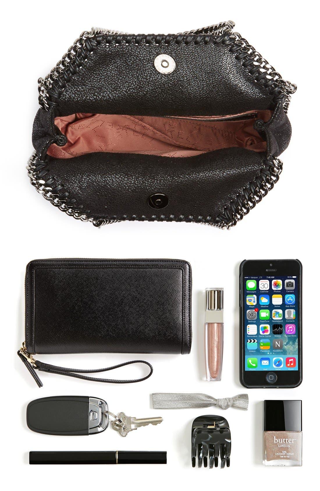 'Tiny Falabella' Faux Leather Crossbody Bag,                             Alternate thumbnail 7, color,                             Black