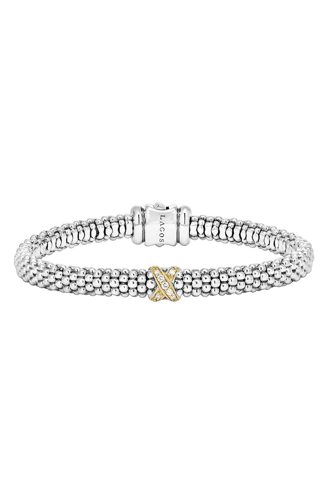 Lagos 18k Gold And Sterling Silver X Collection Rope Bracelet With Diamonds In Sterling Silver/ Gold