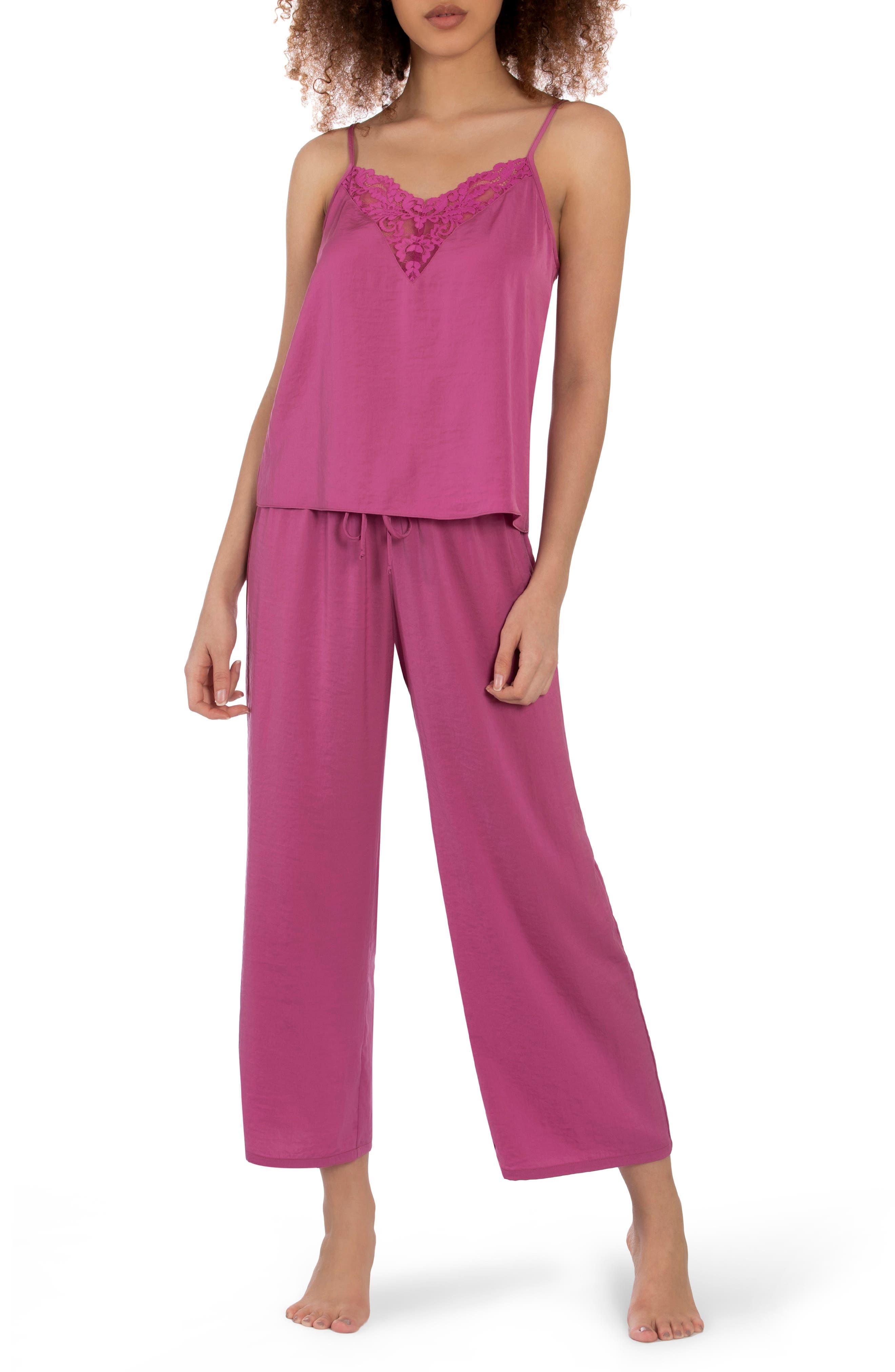 Vintage Pajama Pair Pink Lilac Purple Floral Nightie Set Ladies Separates