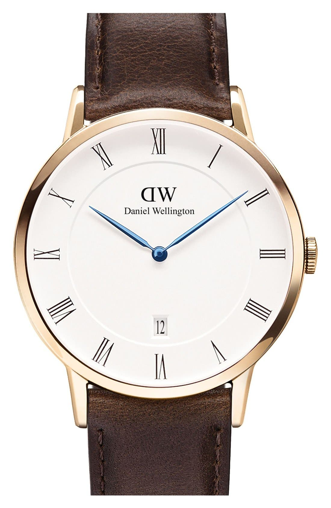 Alternate Image 1 Selected - Daniel Wellington 'Dapper Bristol' Leather Strap Watch, 38mm