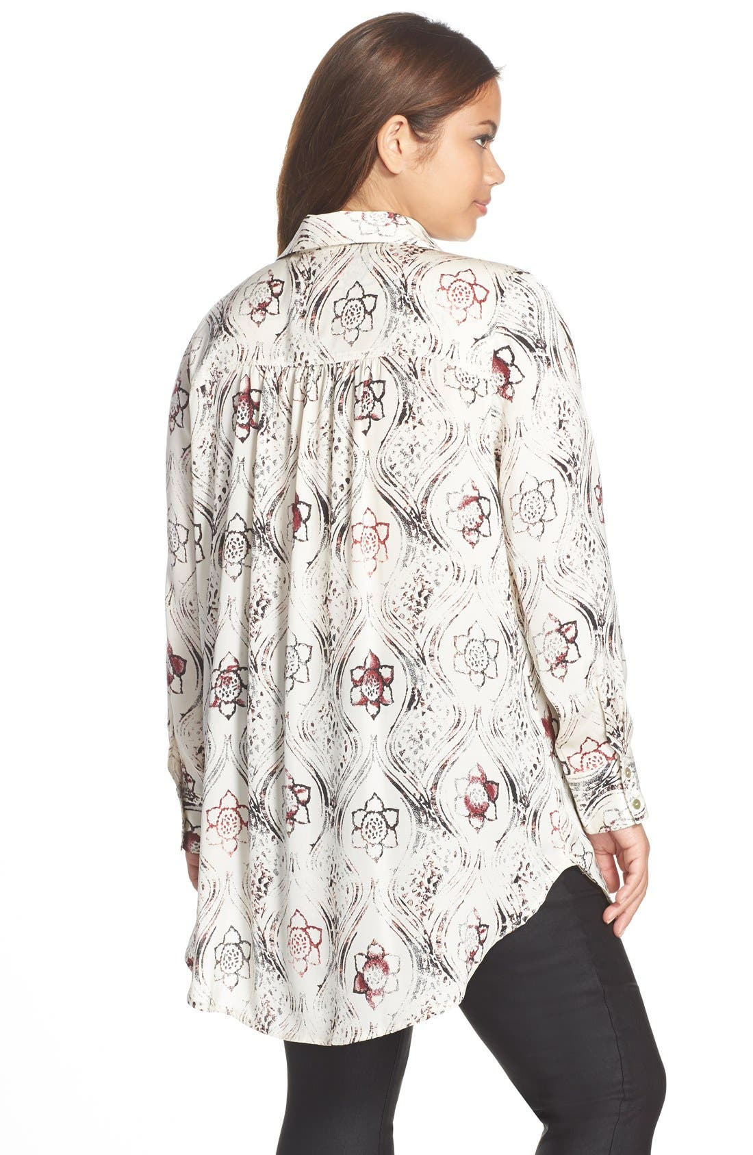 Alternate Image 2  - Melissa McCarthy Seven7 Print Scarf Neck Blouse (Plus Size)