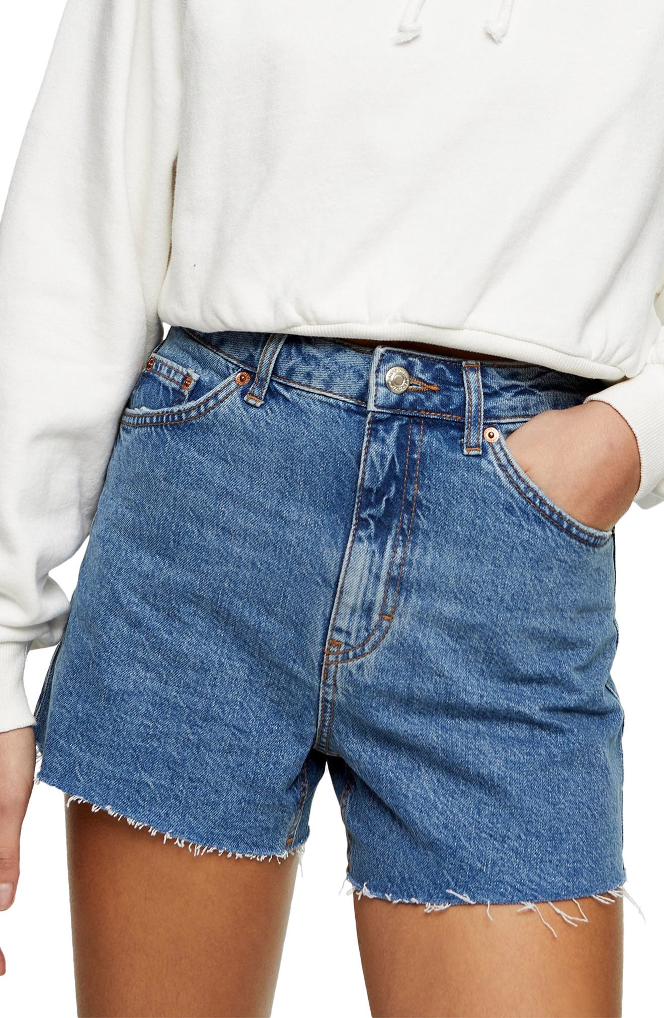 PALIMA Very High Waisted Button-up Dark Denim Jean Shorts with Cuffs and Buckle Detail