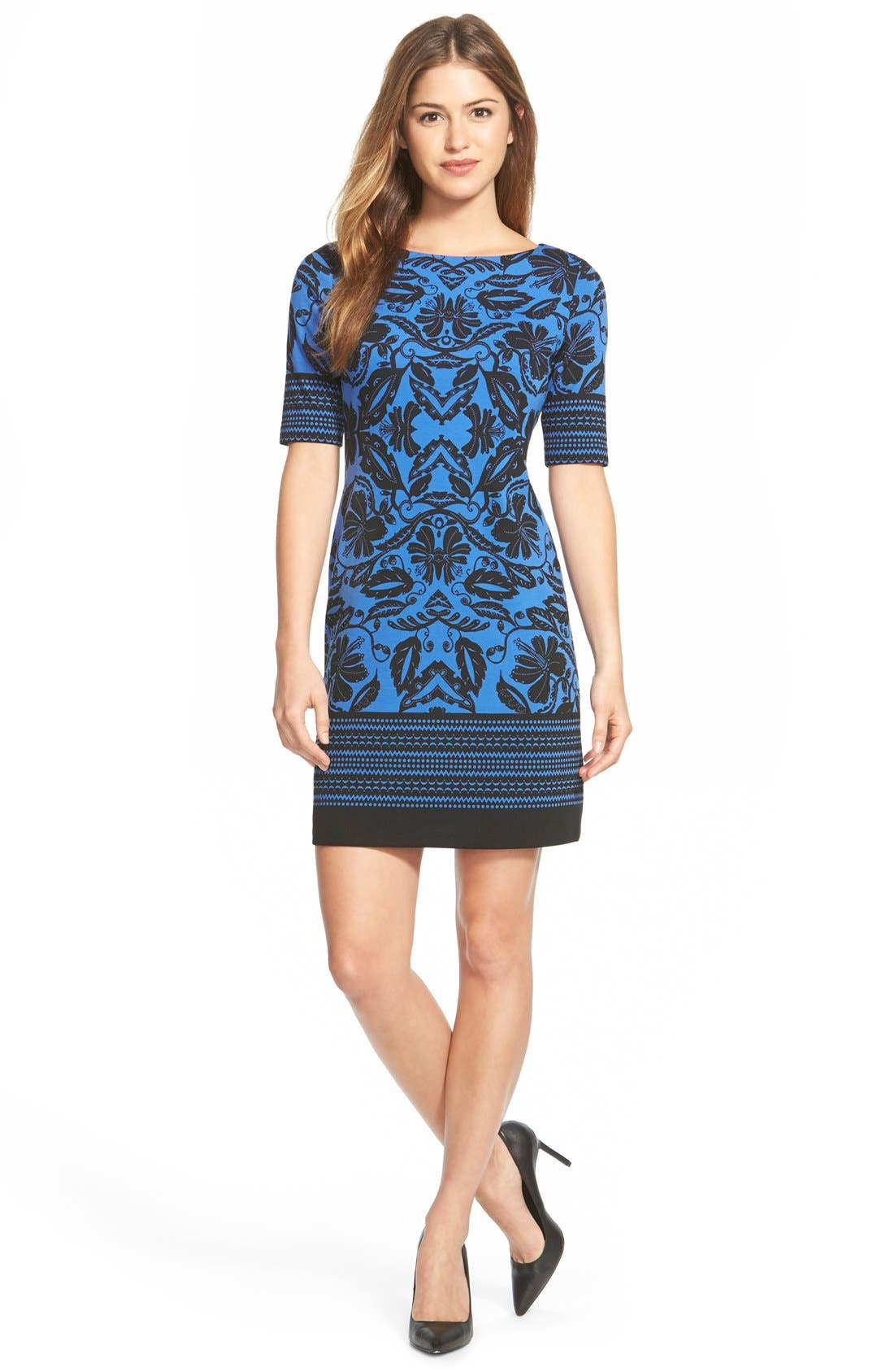 Alternate Image 3  - Eliza J Print Ponte Shift Dress (Regular & Petite)