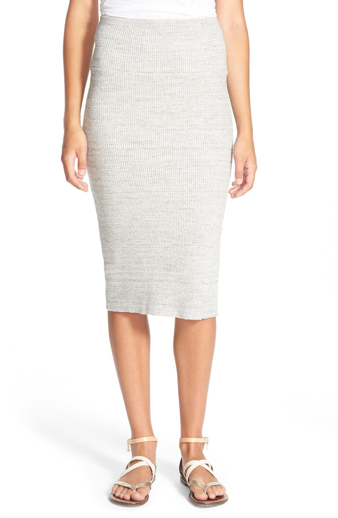 Rib Body-Con Midi Skirt, Heather Grey
