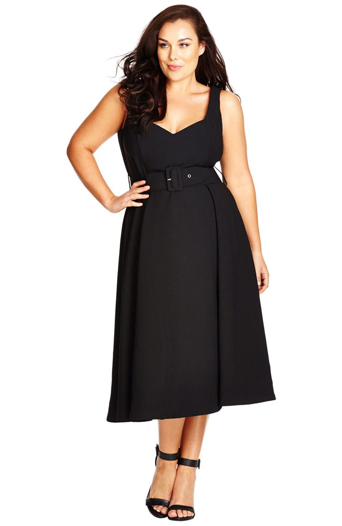 Belted Sweetheart Neck Tea Length Dress,                         Main,                         color, Black