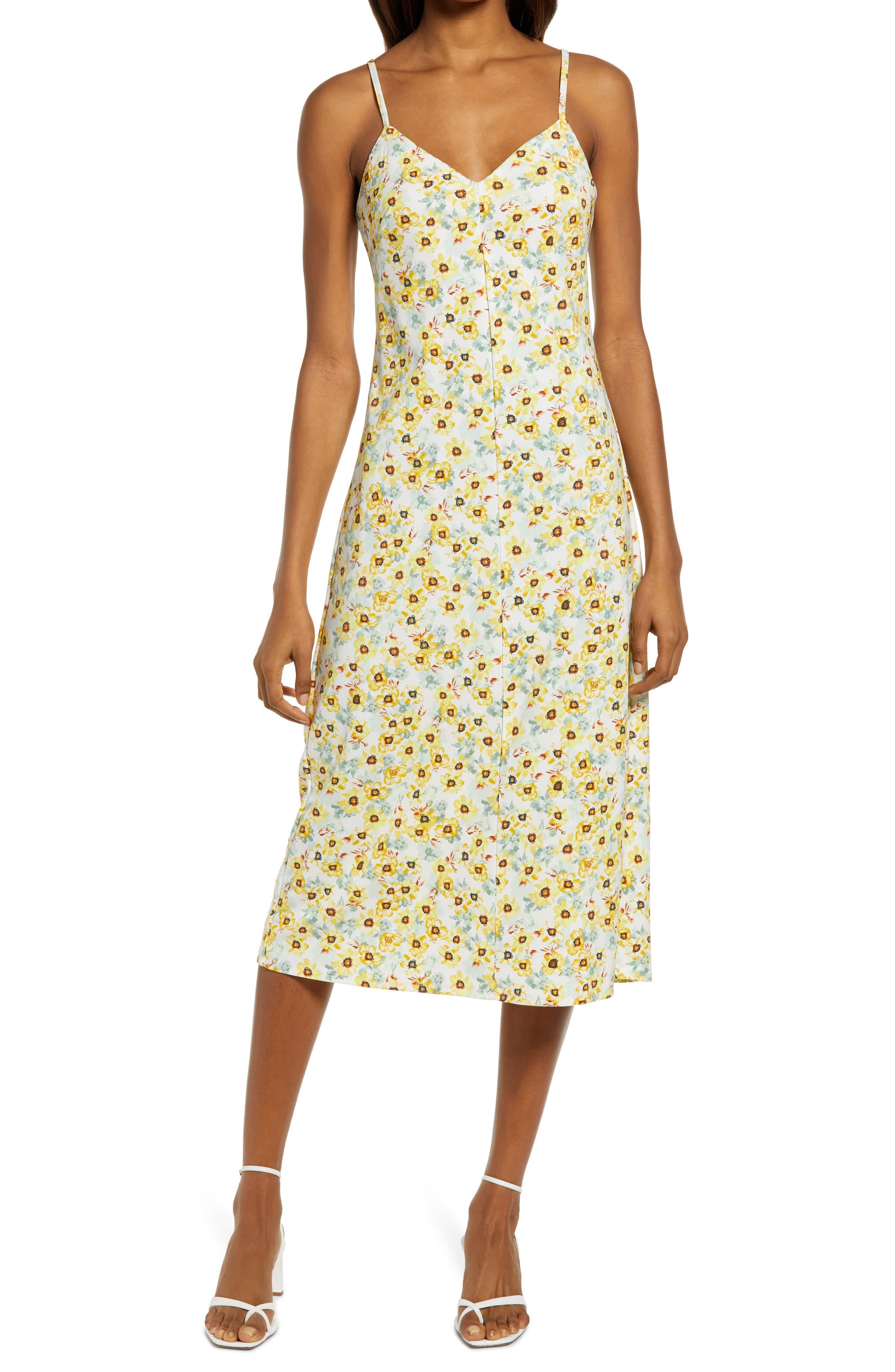 SALE Sweet Yellow Plaid dress Vintage scoop neck Tea dress blossom Yellow dress spring summer sundress bow dress SMALL