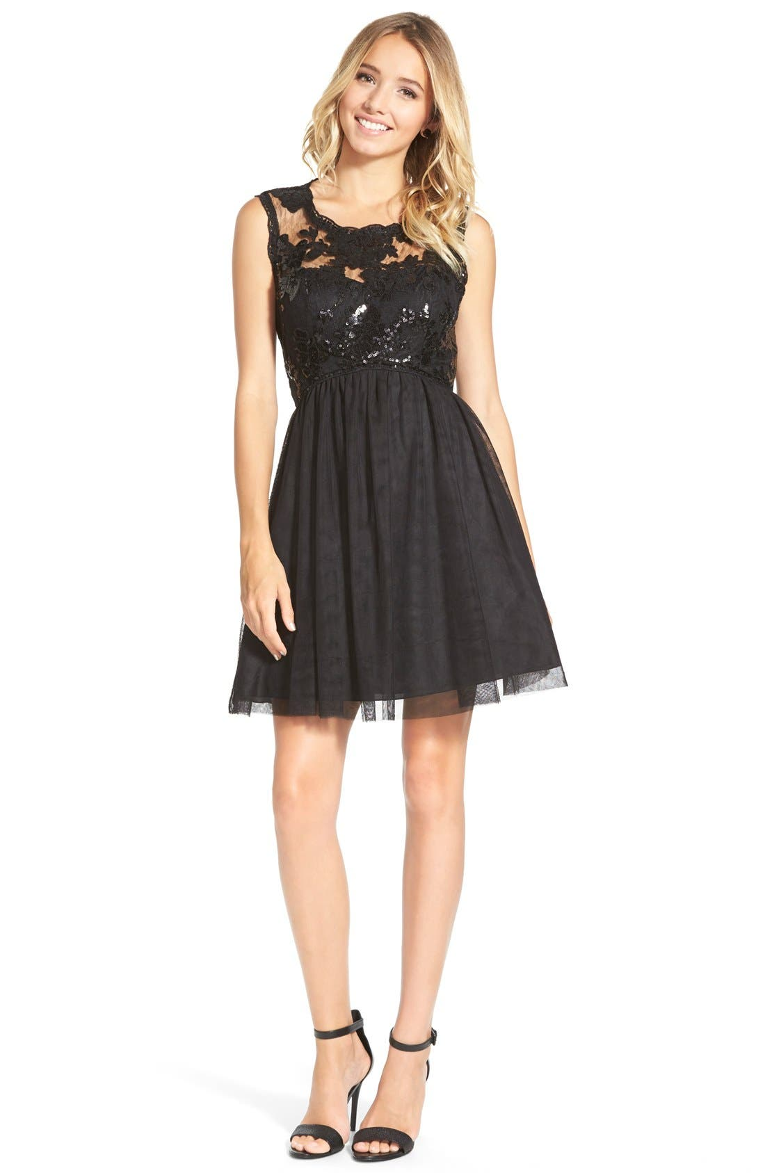 Main Image - Sequin Hearts Sequin Lace Skater Dress