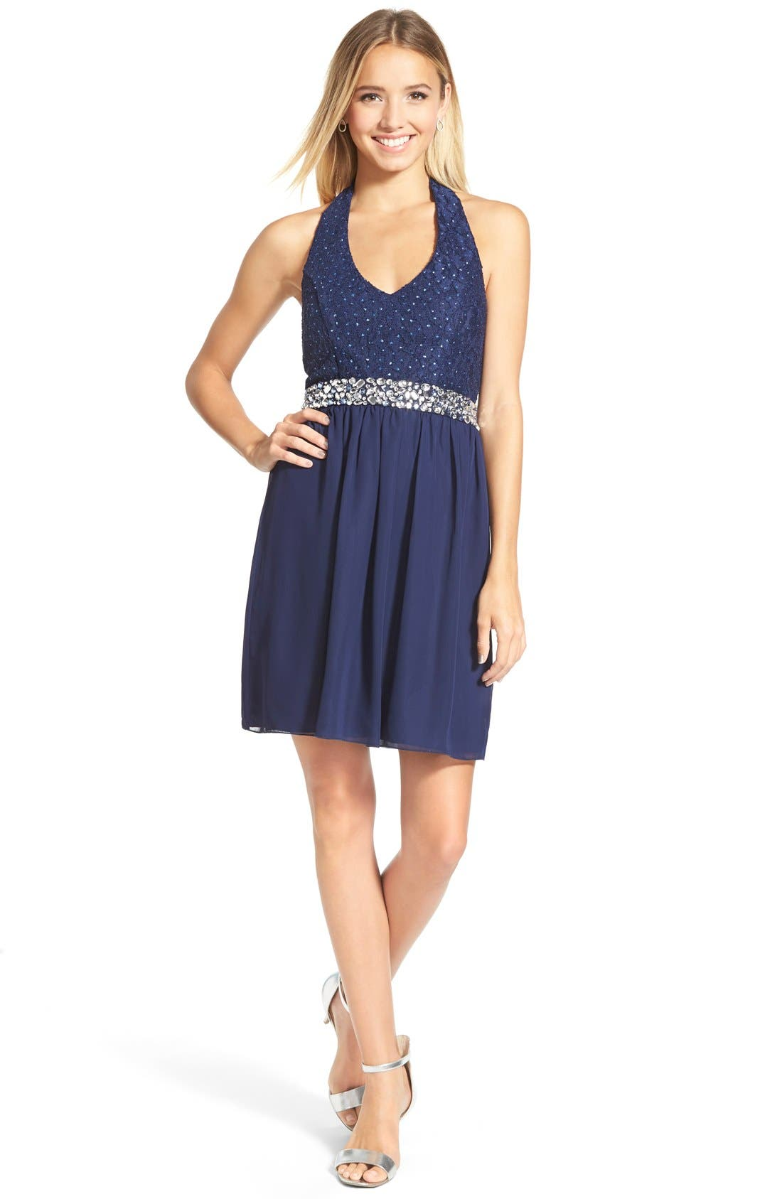 Alternate Image 1 Selected - Speechless Bow Back Lace Halter Dress