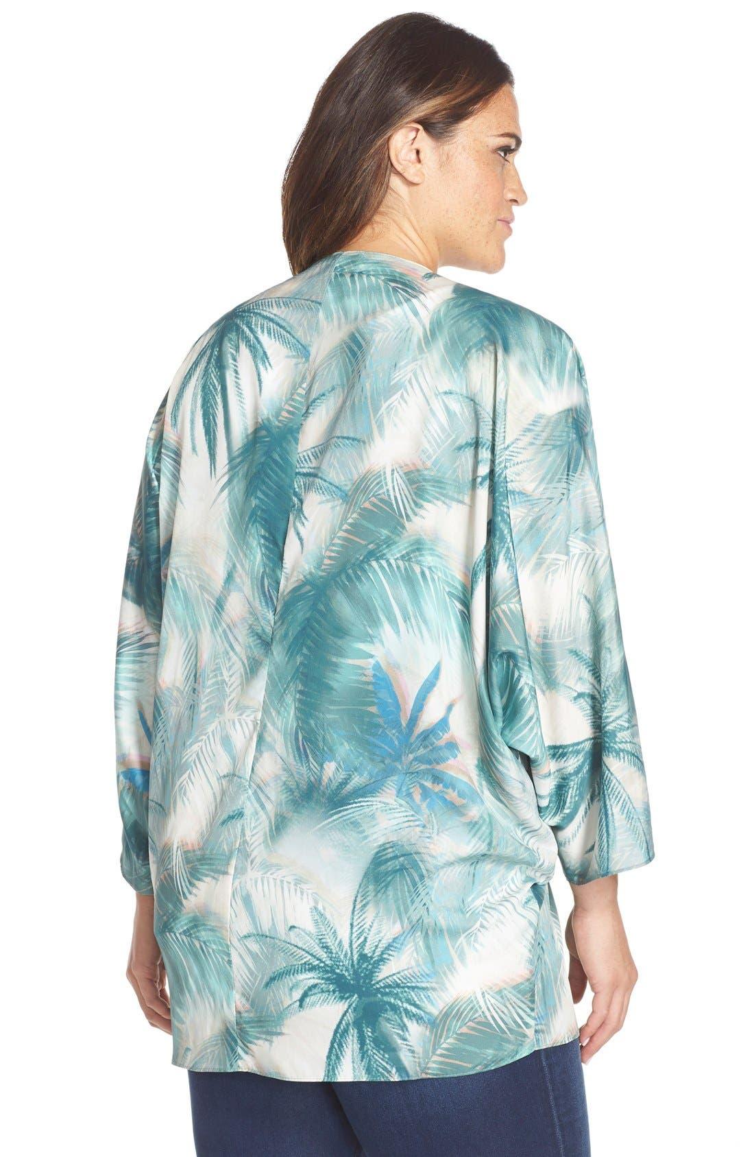 Palm Tree Print Kimono,                             Alternate thumbnail 2, color,                             Blue Green