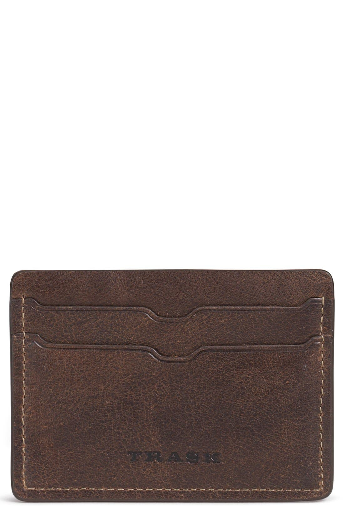 'Jackson' Bison Leather Card Case,                             Main thumbnail 1, color,                             Walnut