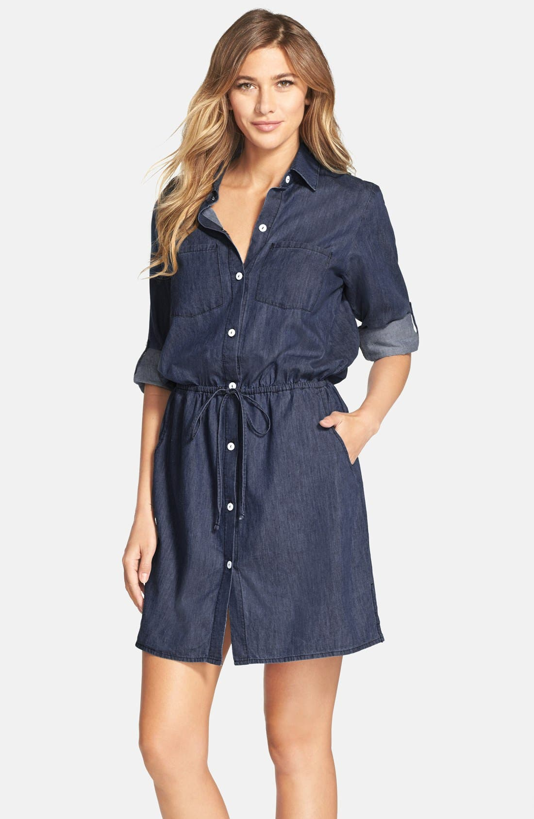 Alternate Image 1 Selected - Tommy Bahama Cotton Chambray Shirtdress