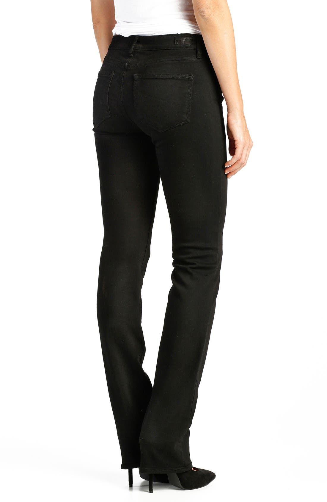 Alternate Image 2  - PAIGE 'Transcend - Skyline' Straight Leg Jeans (Black Shadow)