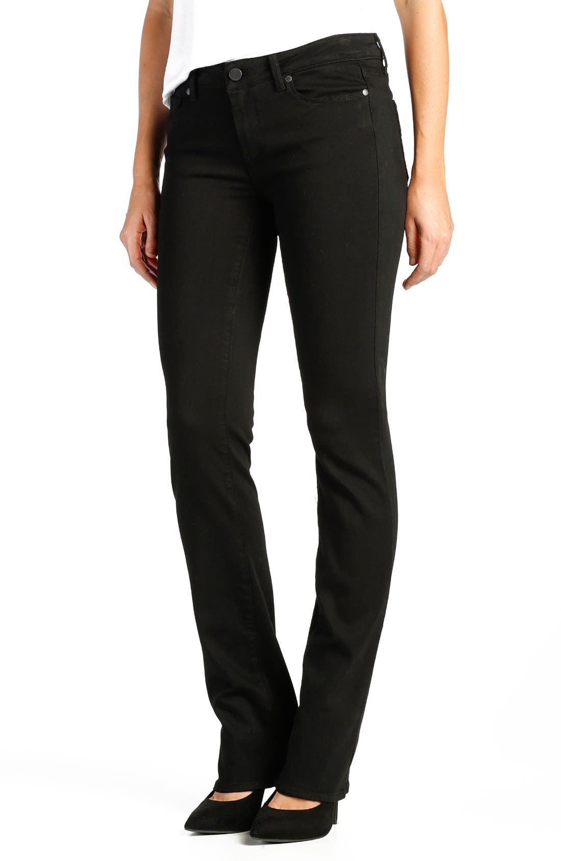 Main Image - PAIGE 'Transcend - Skyline' Straight Leg Jeans (Black Shadow)