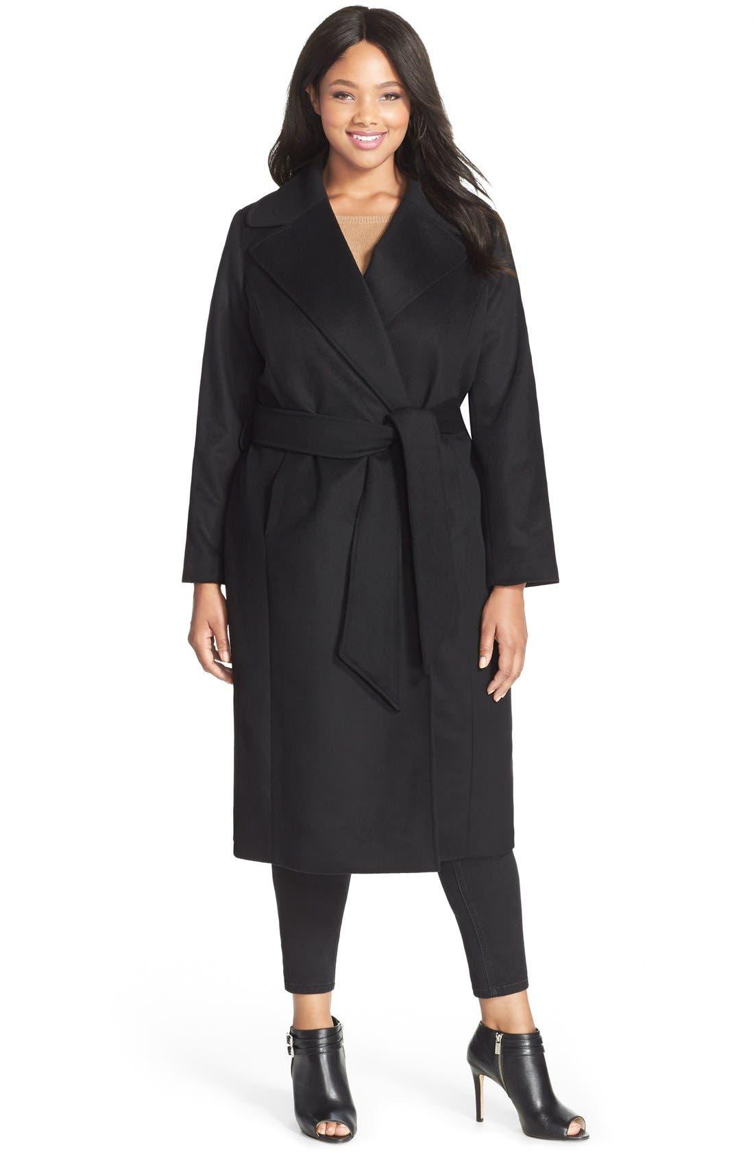 George SimontonCouture 'Hollywood' Long Wrap Coat (Plus Size)