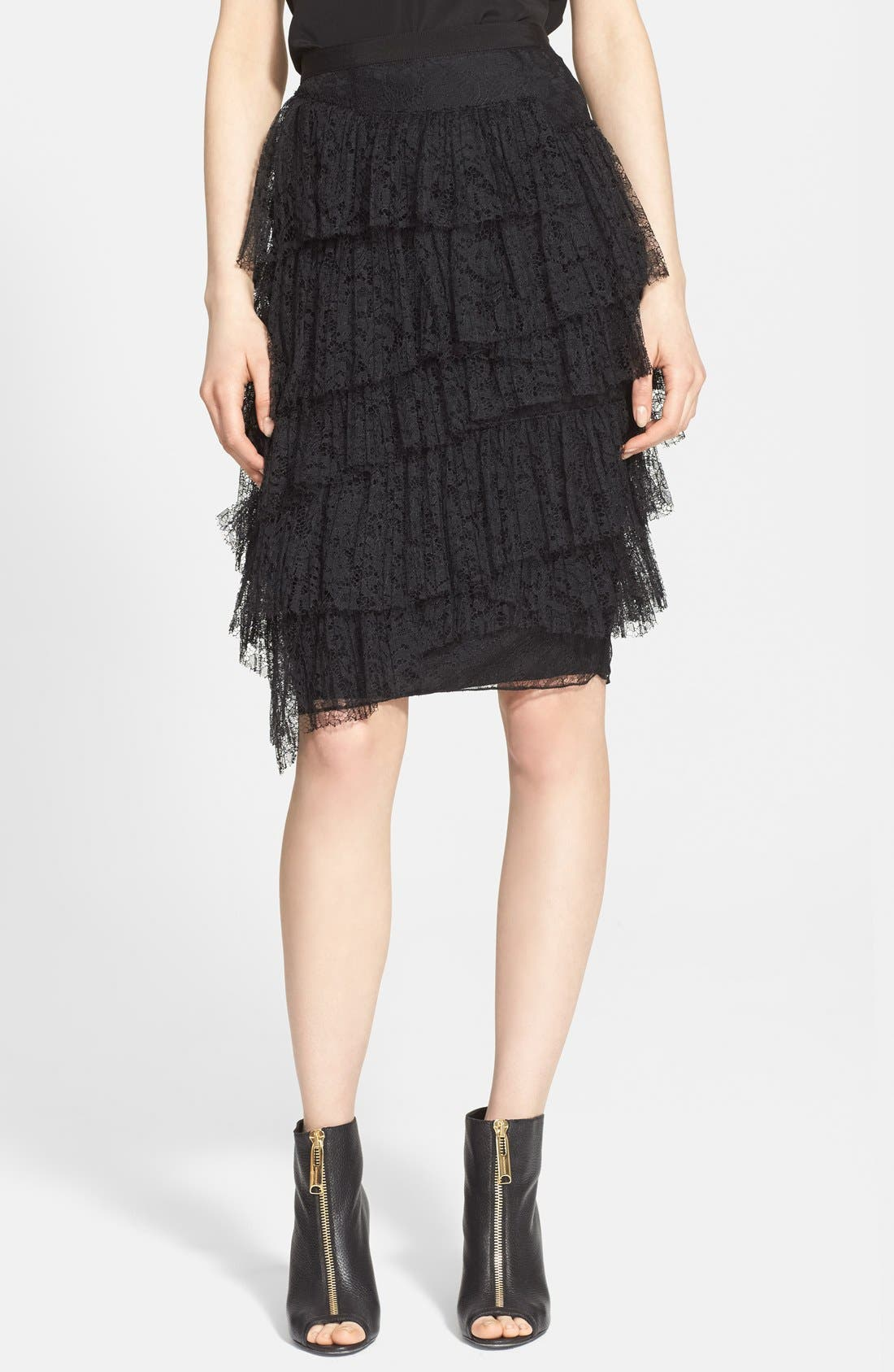 Burberry London Tiered Chantilly Lace Skirt