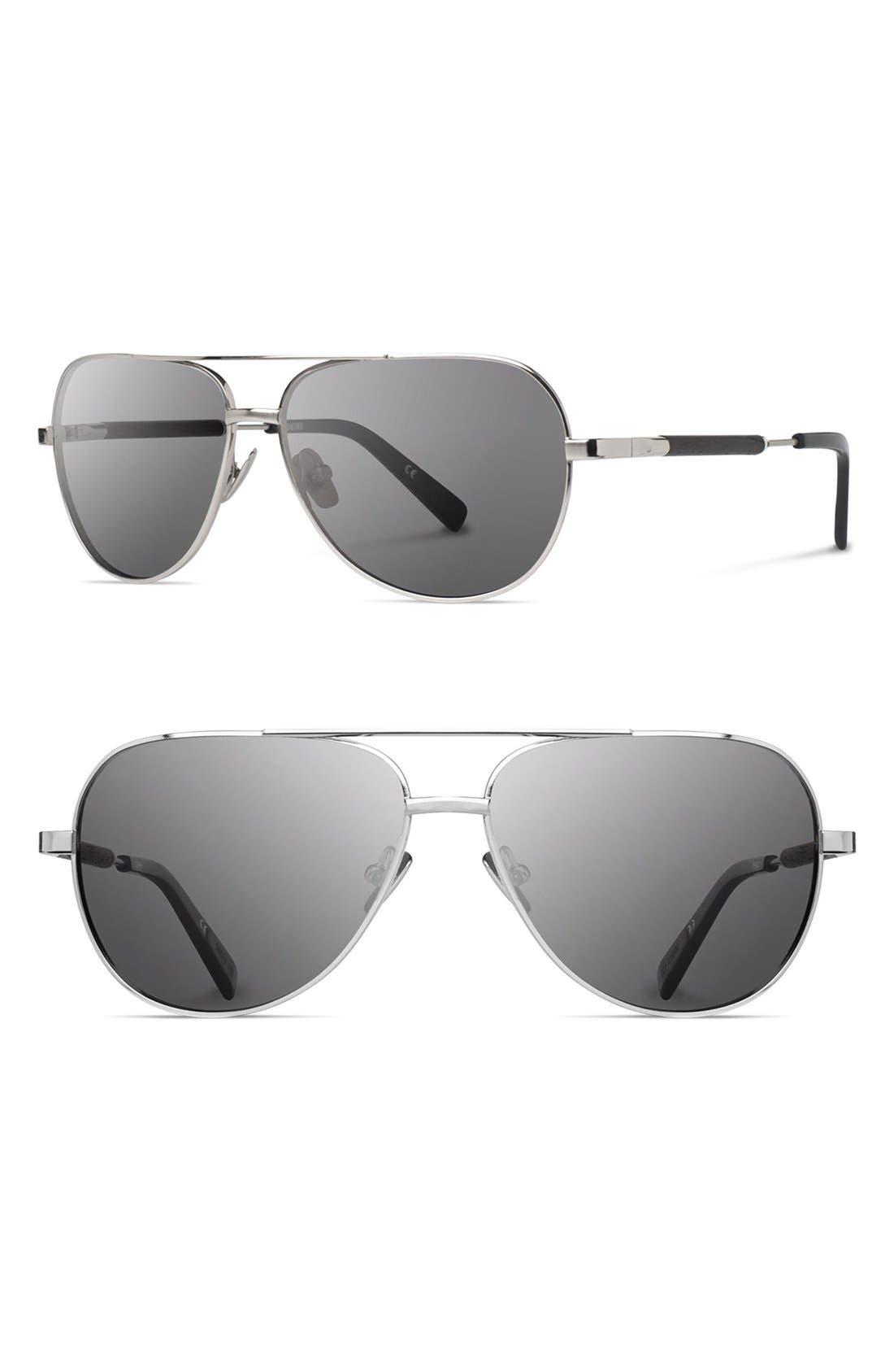 'Redmond' 53mm Titanium & Wood Aviator Sunglasses,                         Main,                         color, Silver/ Ebony/ Grey