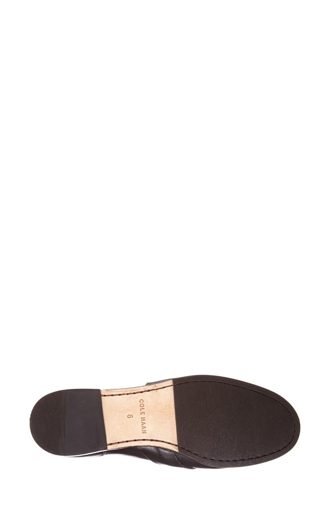 'Laurel' Moc Loafer,                             Alternate thumbnail 4, color,                             Black Leather