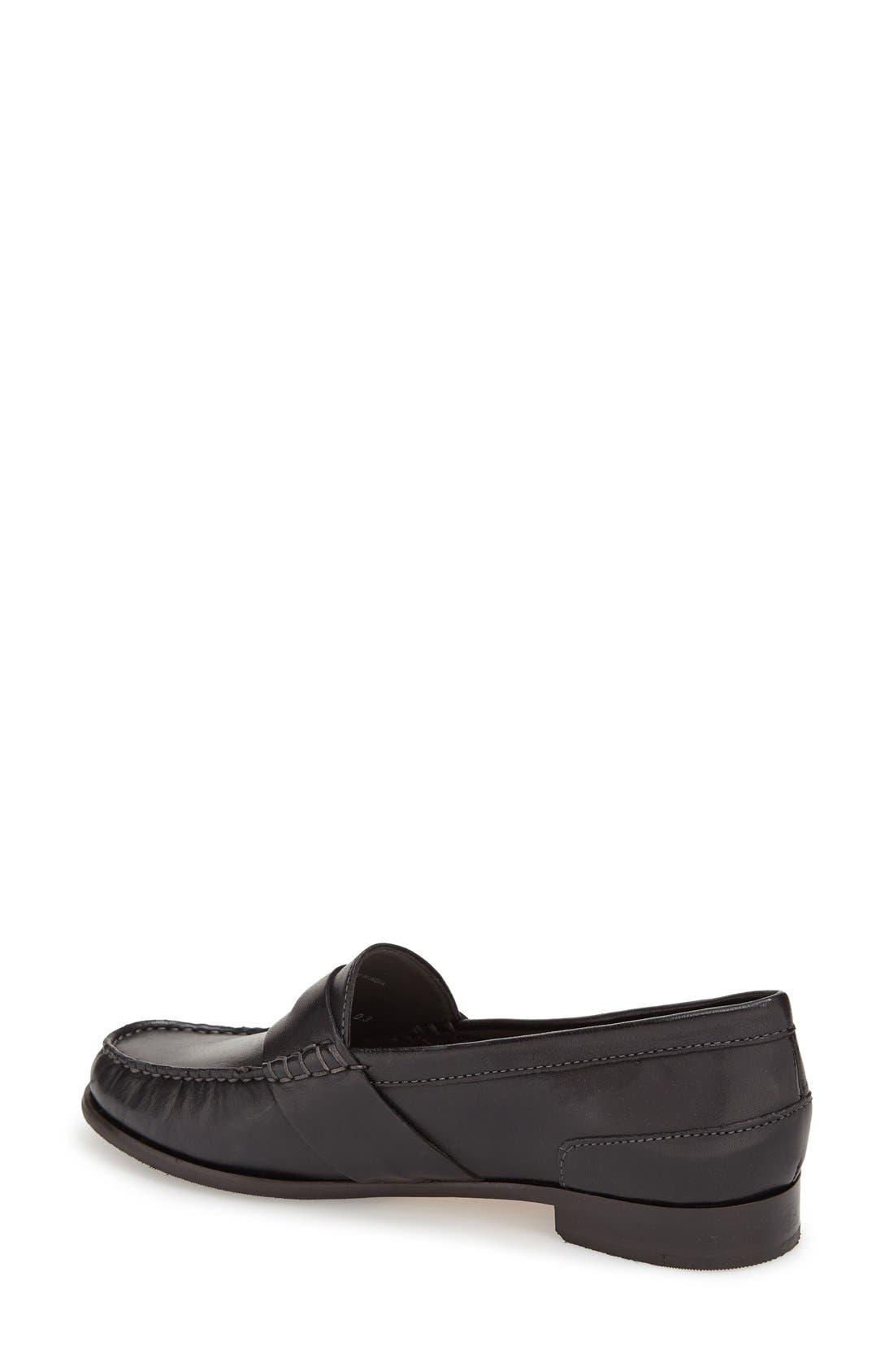 'Laurel' Moc Loafer,                             Alternate thumbnail 2, color,                             Black Leather