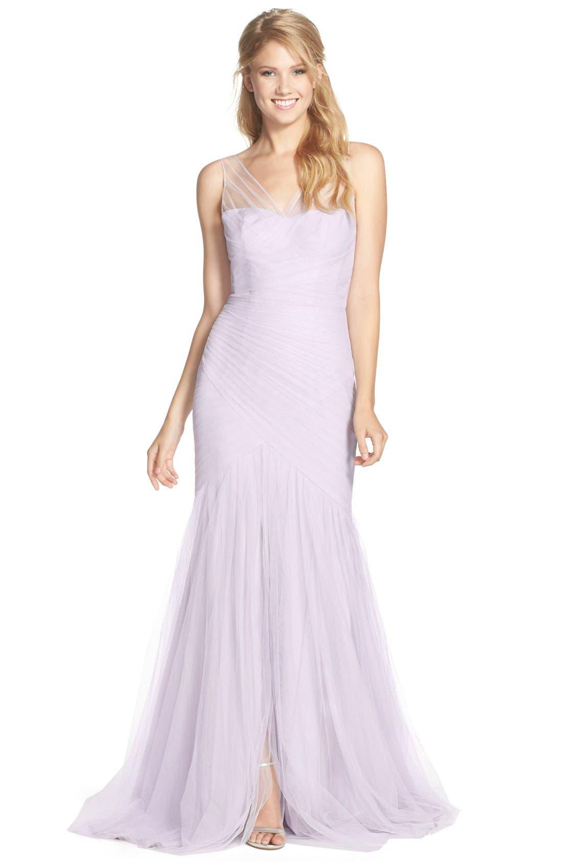 Main Image - Monique Lhuillier Bridesmaids Illusion Yoke Pleat Tulle Trumpet Gown