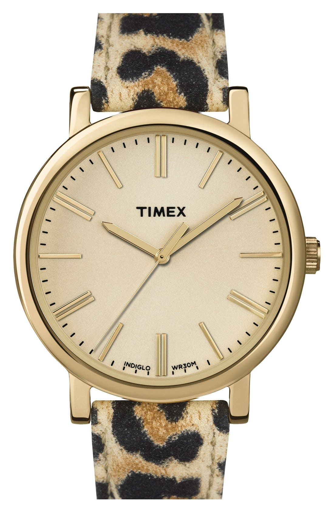 Alternate Image 1 Selected - Timex® 'Originals' Leather Strap Watch, 38mm