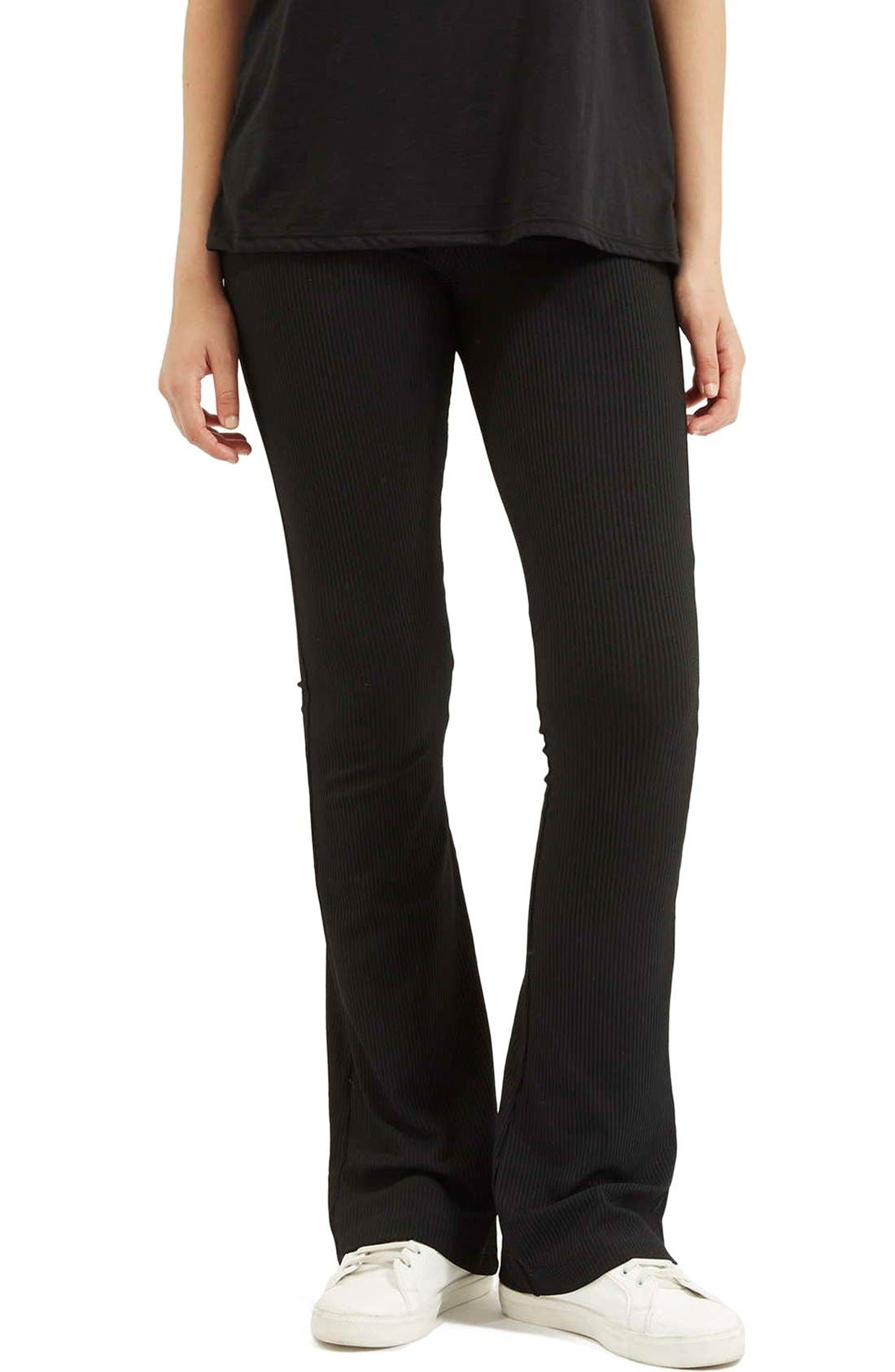 Ribbed Flare Pants,                             Main thumbnail 1, color,                             Black