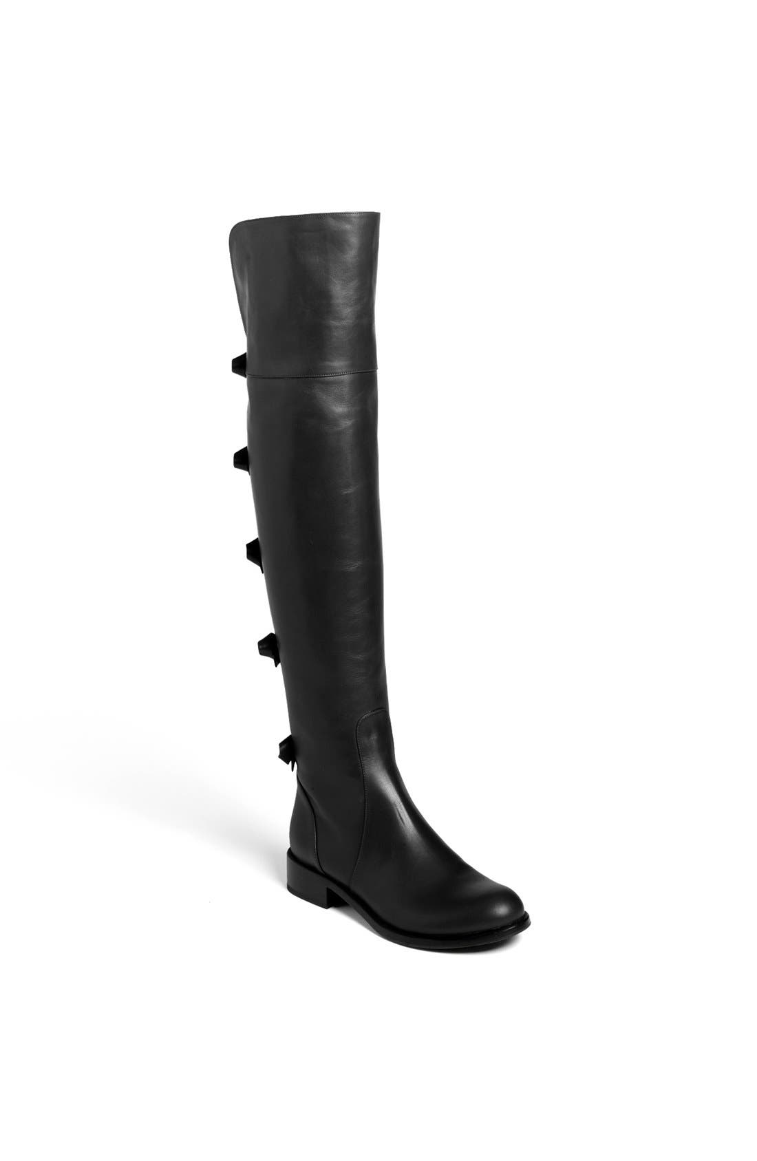 Bow Over the Knee Boot,                             Main thumbnail 1, color,                             Black Leather