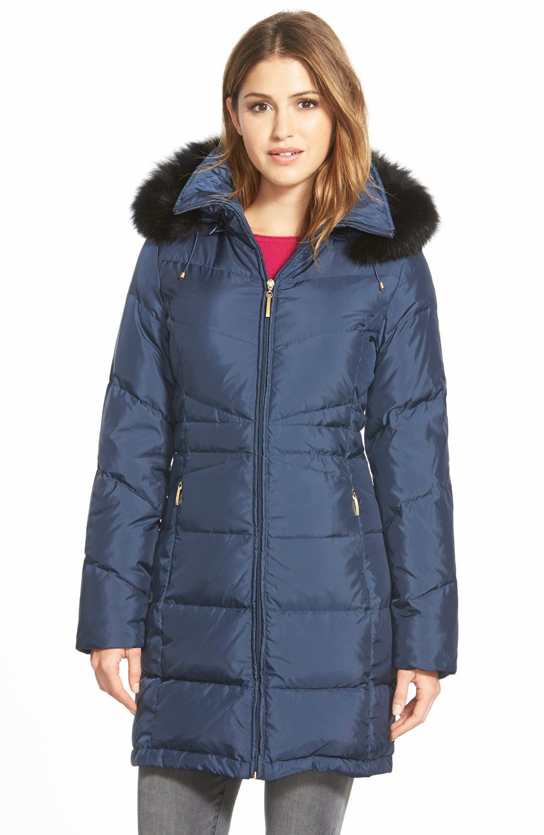 Genuine Fox Fur Trim Down Parka,                         Main,                         color, Navy