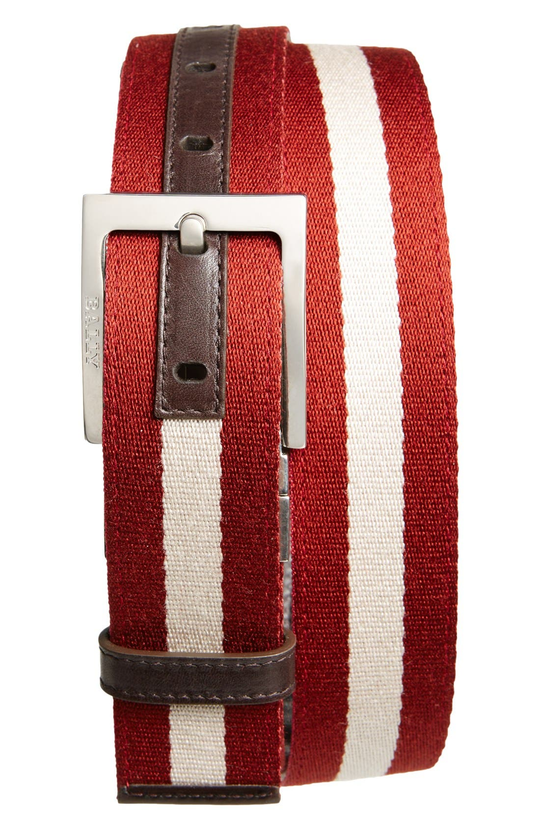 'Tonni' Stripe Canvas & Leather Belt,                             Main thumbnail 1, color,                             Chocolate/ Red/ Beige