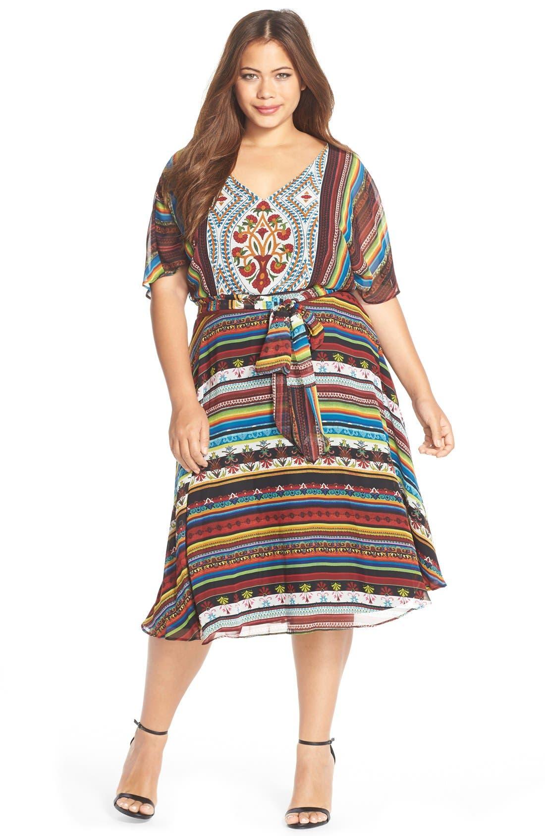 Alternate Image 1 Selected - Gabby Skye 'Boho Chic' Belted Print Chiffon Dress (Plus Size)