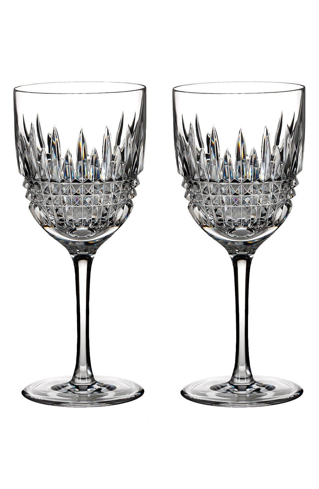 'Lismore Diamond' Lead Crystal Goblets,                         Main,                         color, Clear