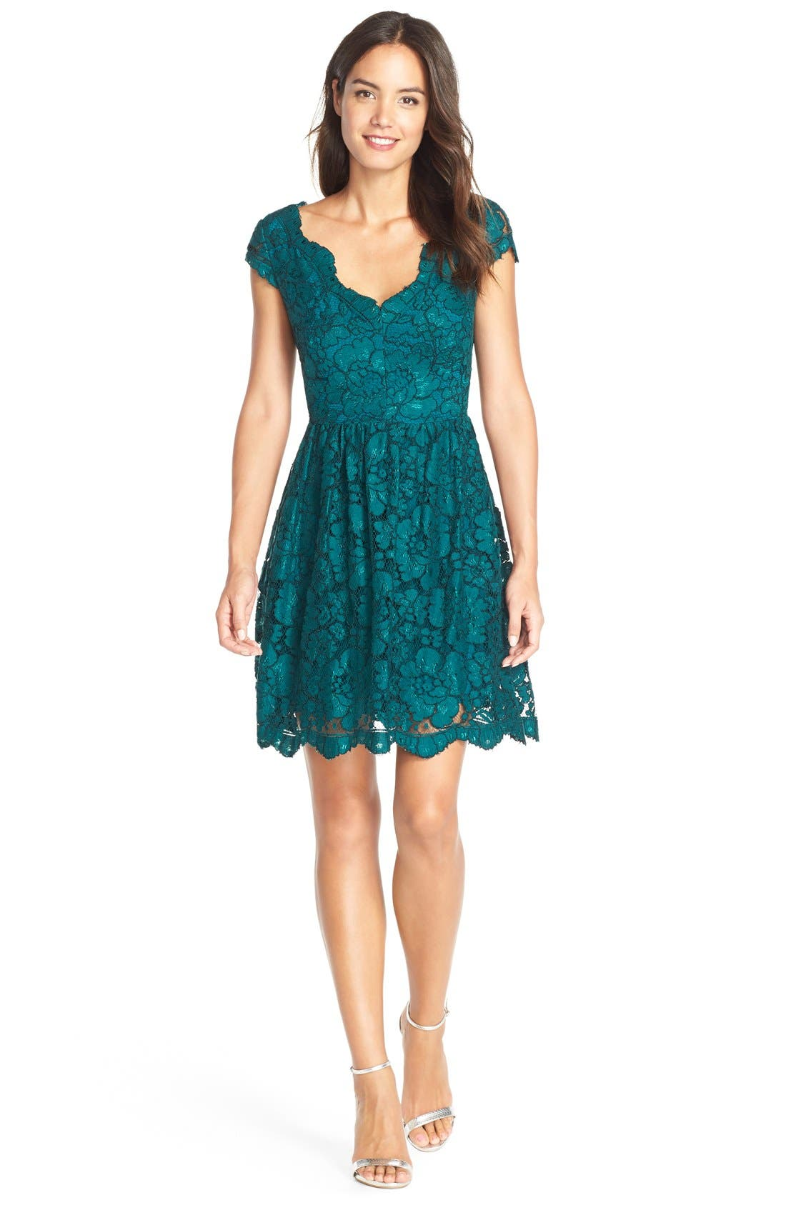 Betsey Johnson Scalloped Lace Fit & Flare Dress | Nordstrom
