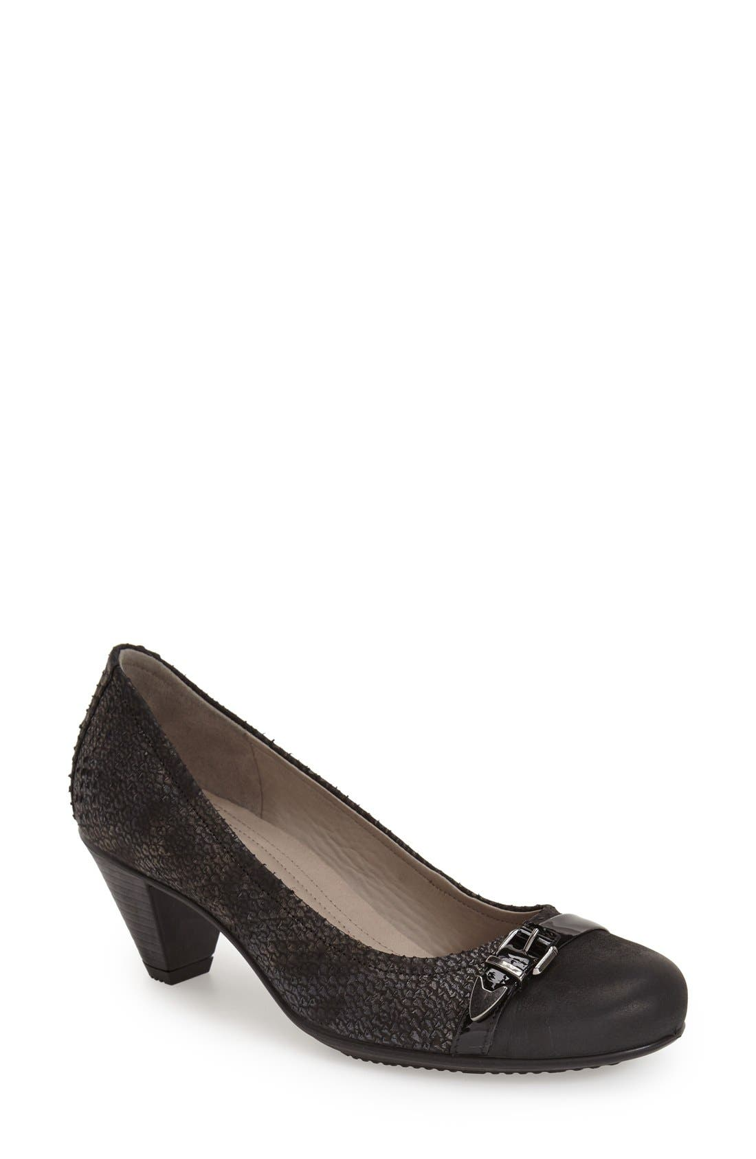 'Touch 50' Buckle Pump,                         Main,                         color, Black Leather