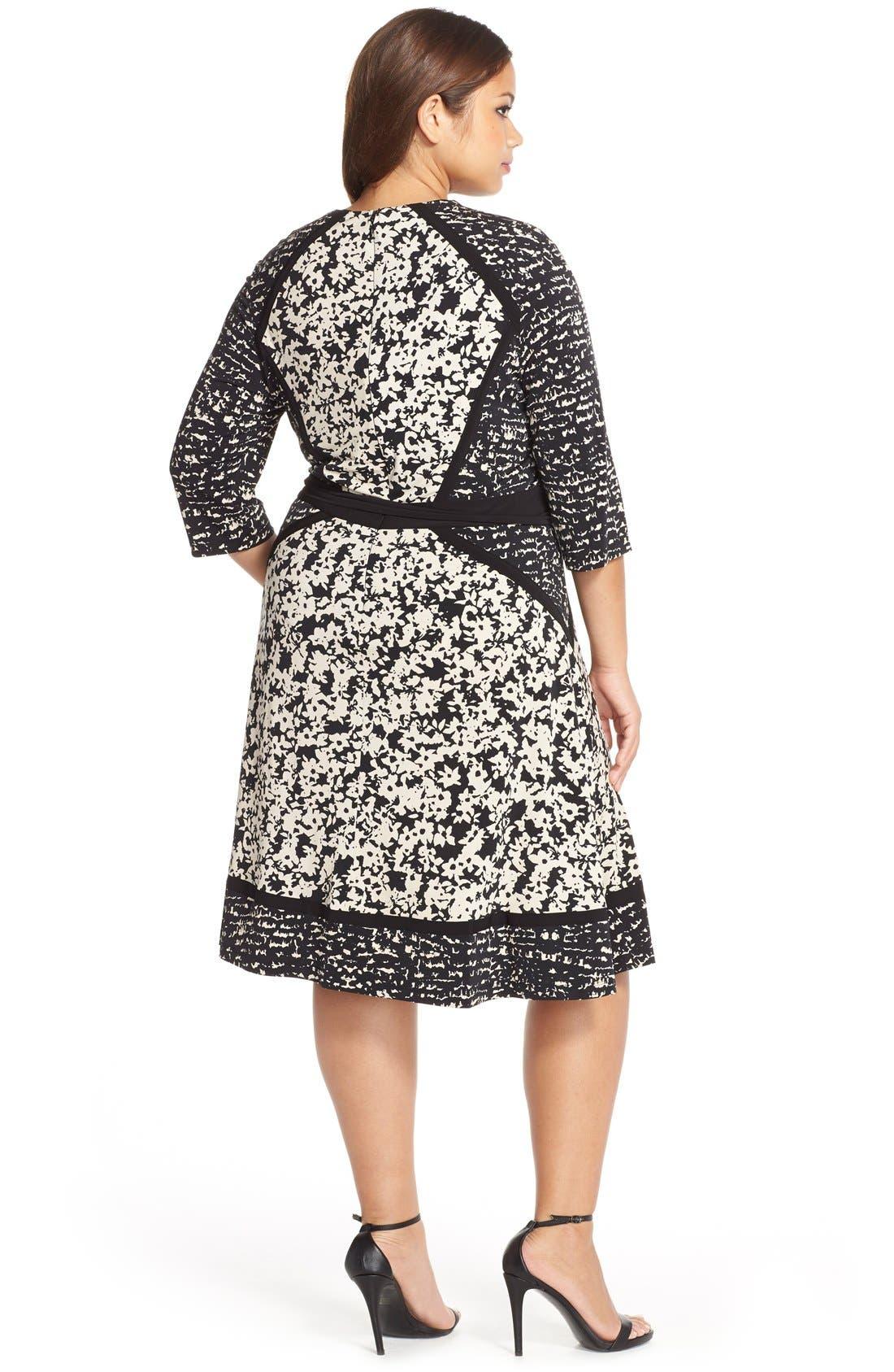 Alternate Image 2  - Taylor Dresses Mix Print Faux Wrap Jersey A-Line Dress
