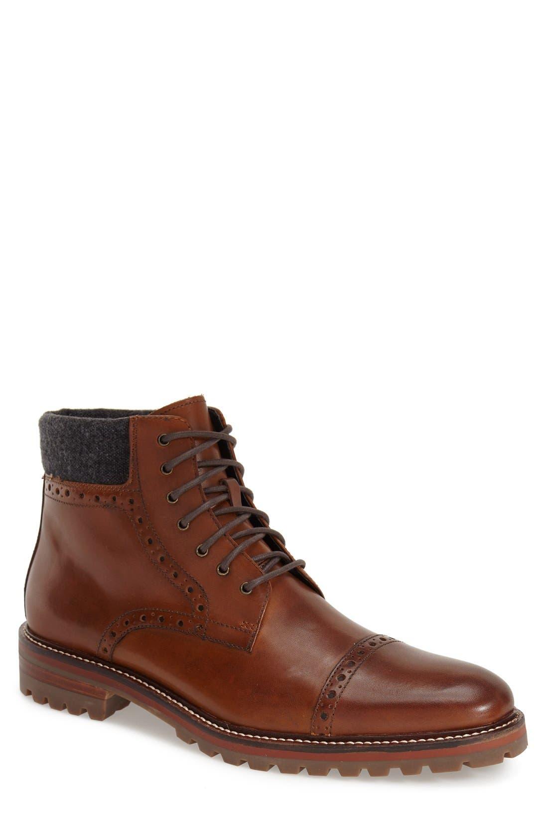 J&M 1850 'Karnes' Brogue Cap Toe Boot (Men)