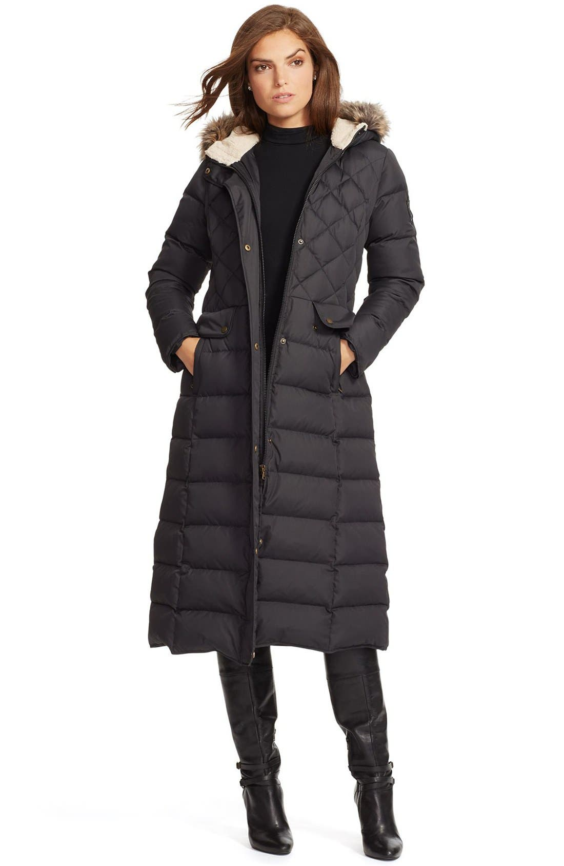 Faux Fur Trim Hooded Long Down & Feather Fill Coat,                             Main thumbnail 1, color,                             Black