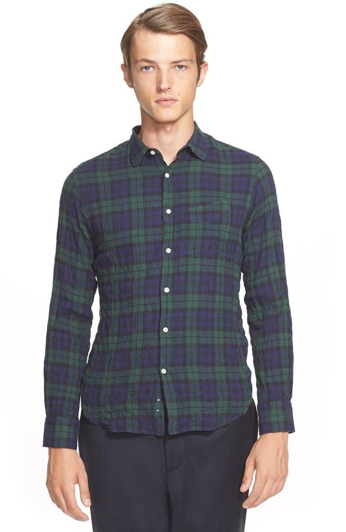 Officine generale trim fit plaid flannel shirt nordstrom for Trim fit flannel shirts