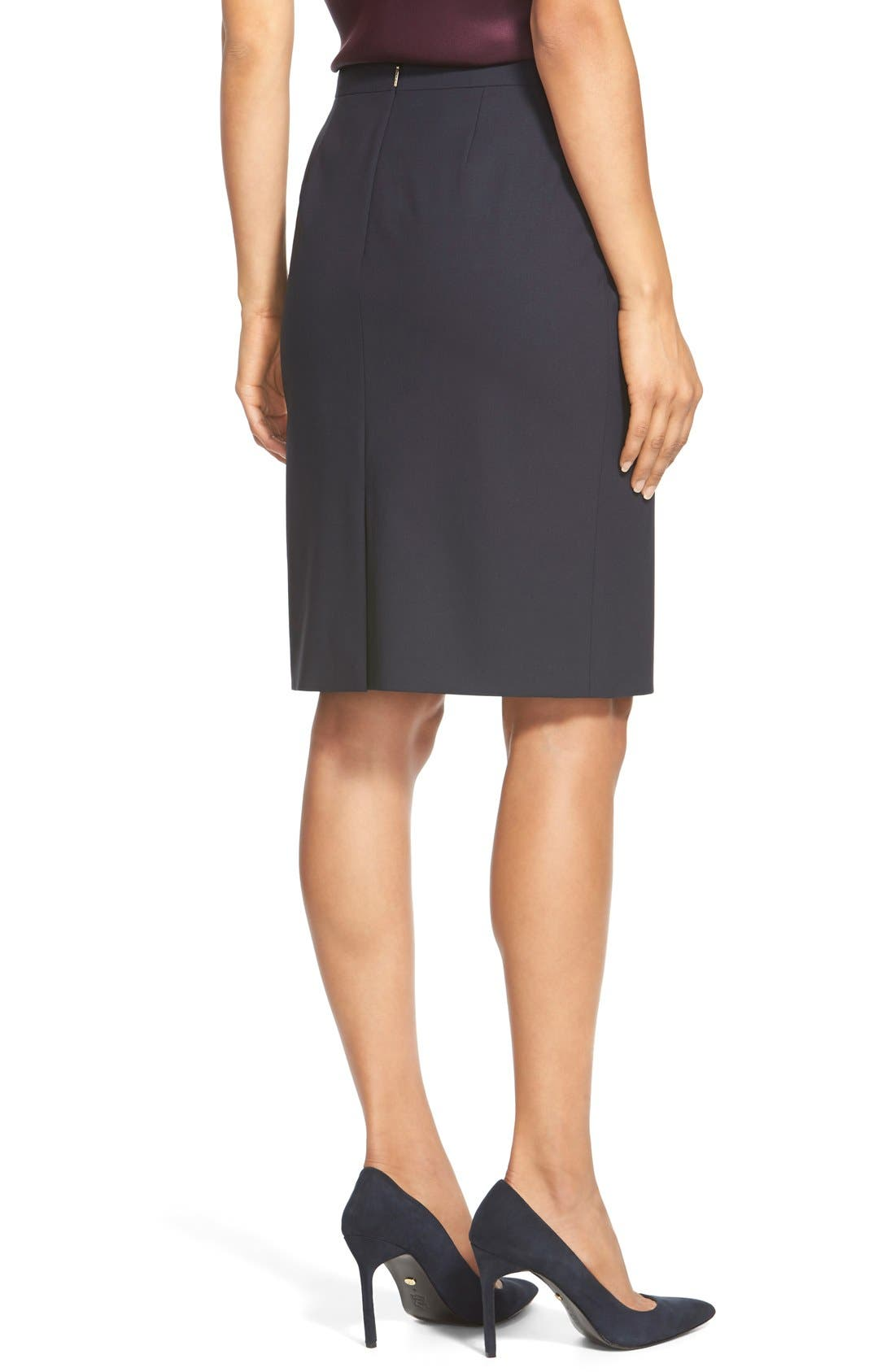 Vilea Tropical Stretch Wool Pencil Skirt,                             Alternate thumbnail 3, color,                             Navy