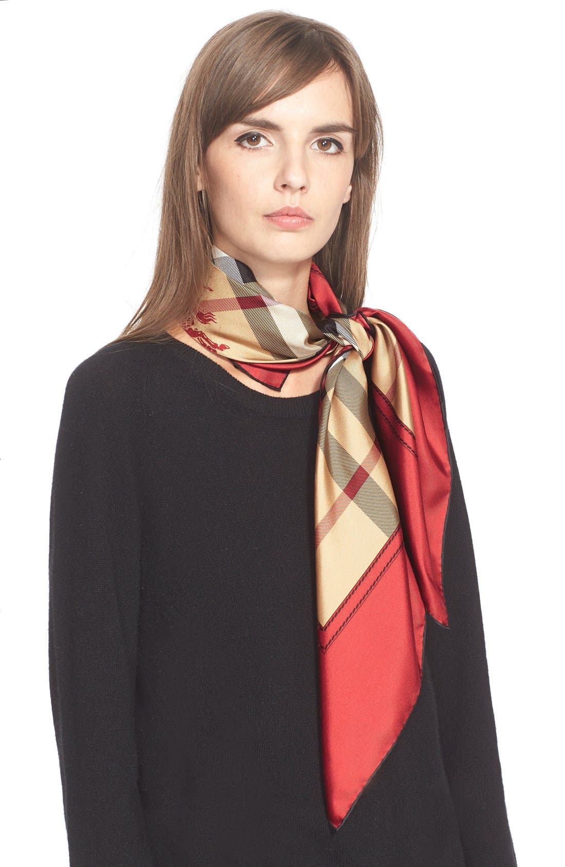 Alternate Image 1 Selected - Burberry Horseferry Check Silk Square Scarf