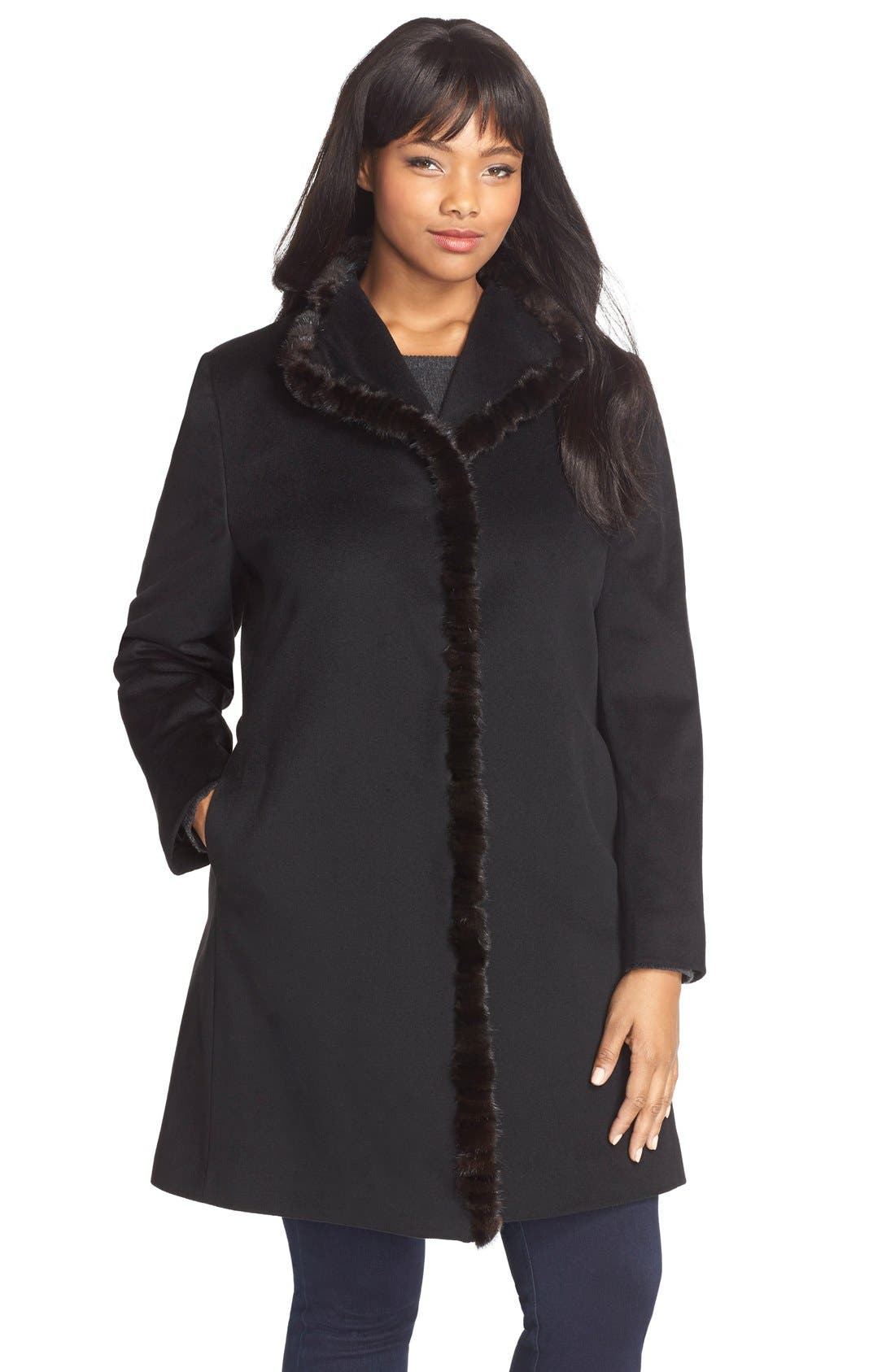 Wool Wing Collar Coat with Genuine Mink Trim,                         Main,                         color, Black