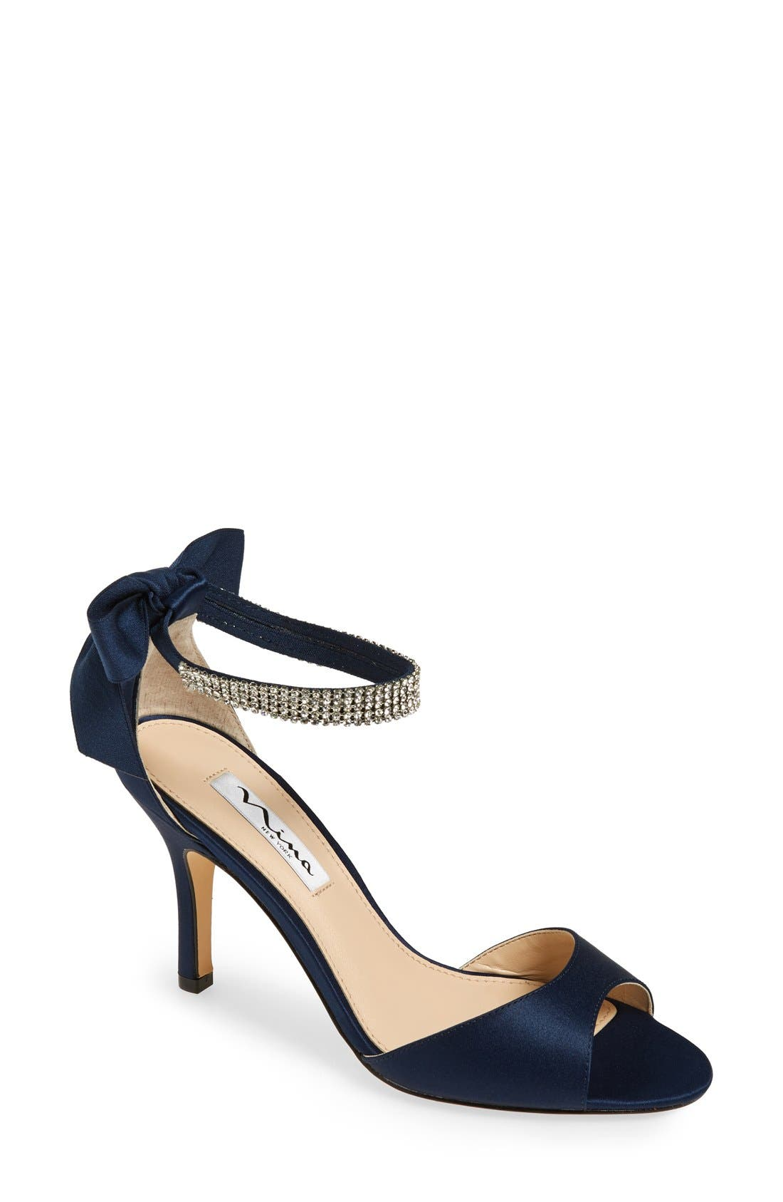 Main Image - Nina 'Vinnie' Crystal Embellished Ankle Strap Sandal (Women)