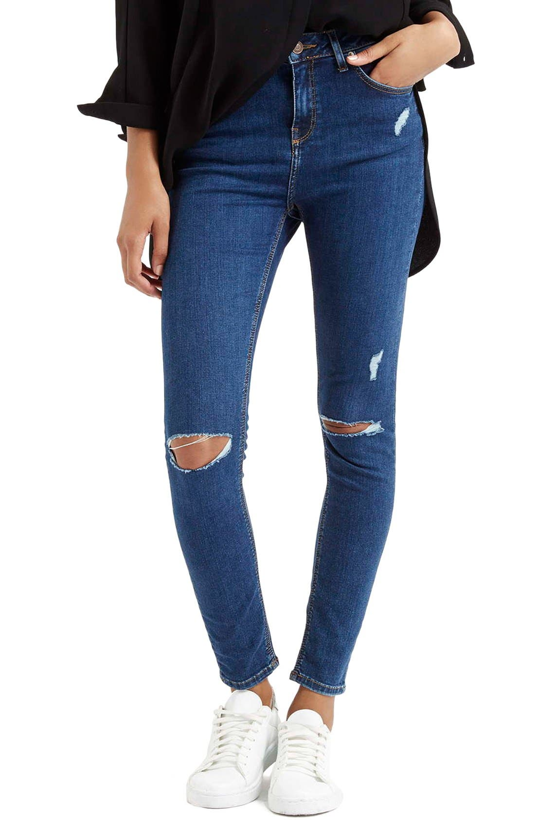 Alternate Image 1 Selected - Topshop Moto 'Jamie' High Rise Ripped Jeans