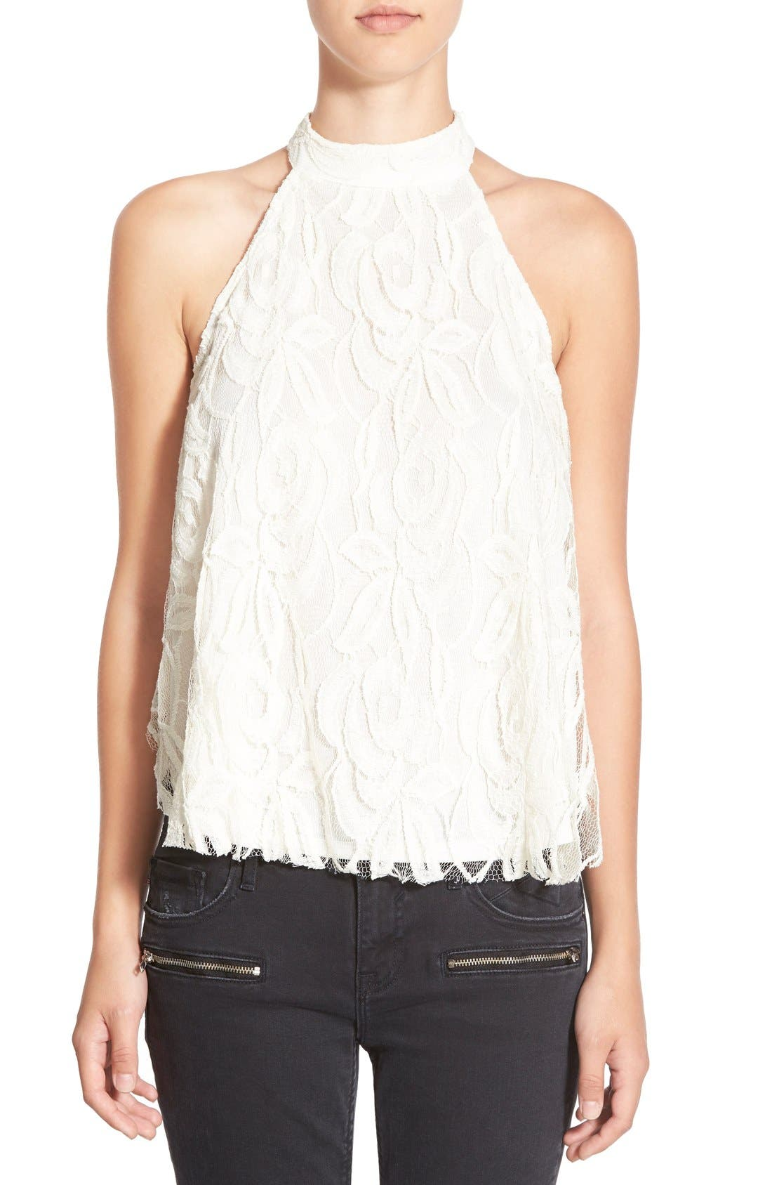 Alternate Image 1 Selected - Frenchi® Lace High Neck Tank