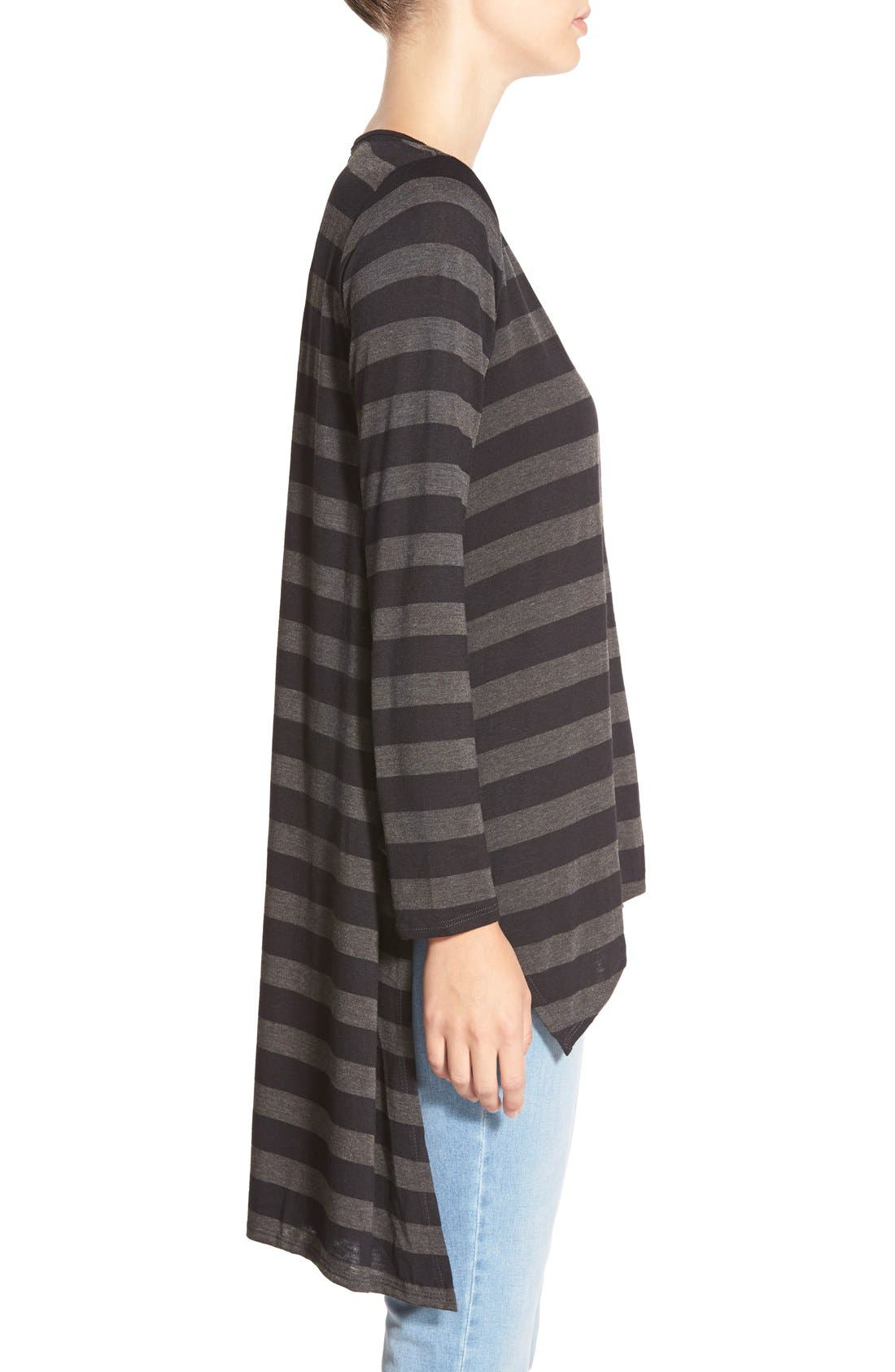 Stripe High/Low Tunic Tee,                             Alternate thumbnail 3, color,                             Black Large Stripe